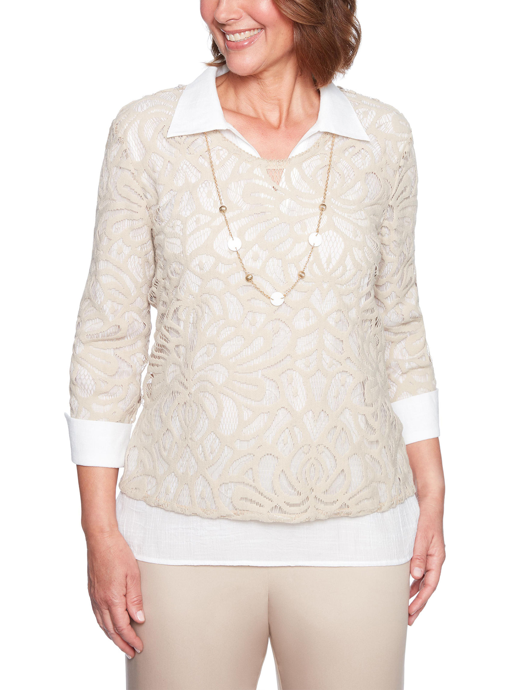 Alfred Dunner Beige Shirts & Blouses