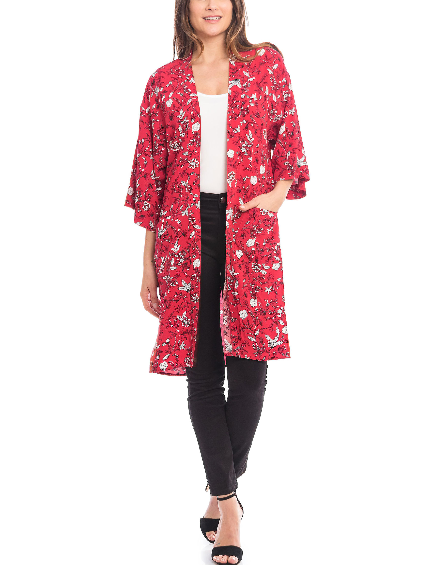 Skyes The Limit Red Multi Kimonos & Toppers