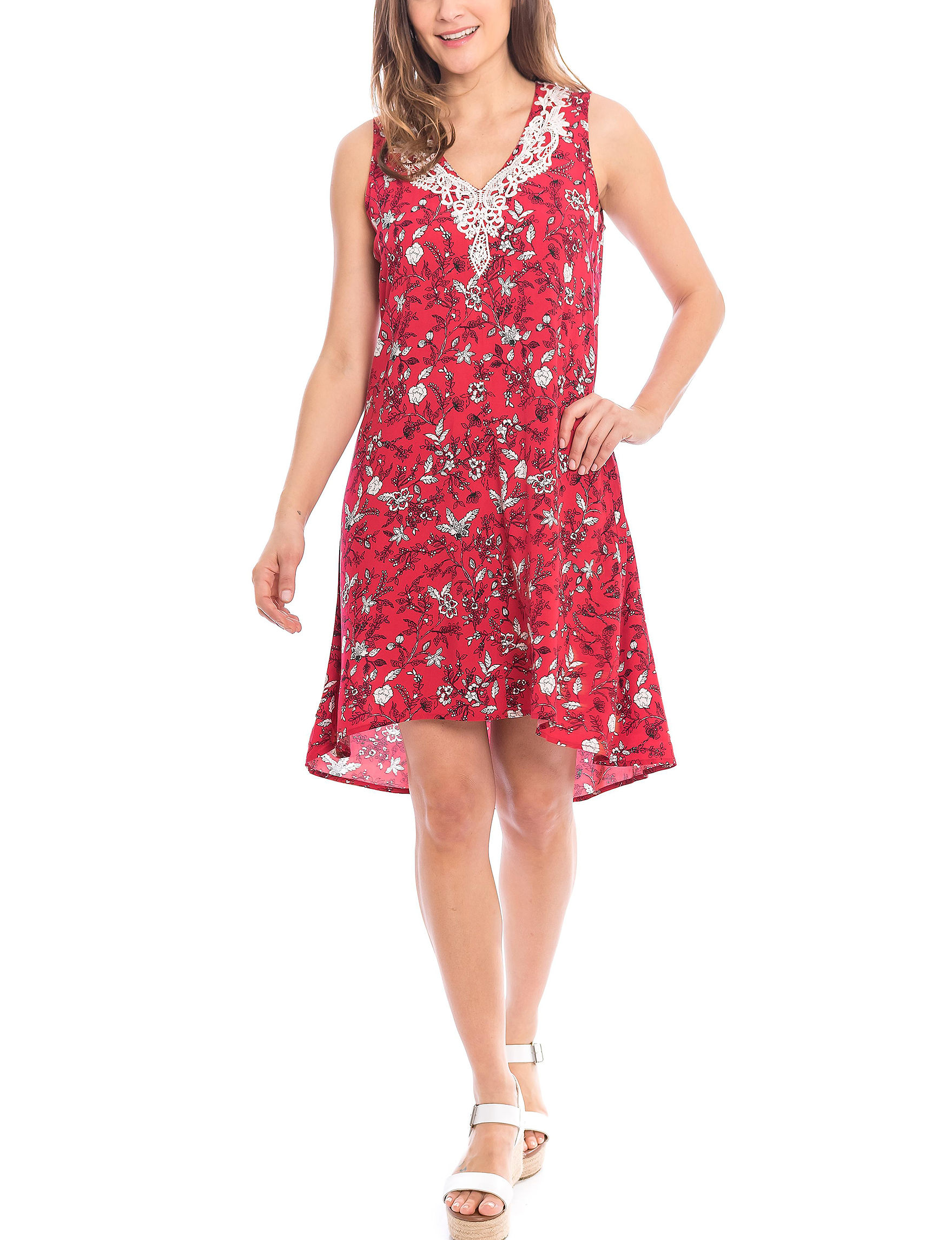 Skyes The Limit Red Multi Everyday & Casual Fit & Flare Dresses