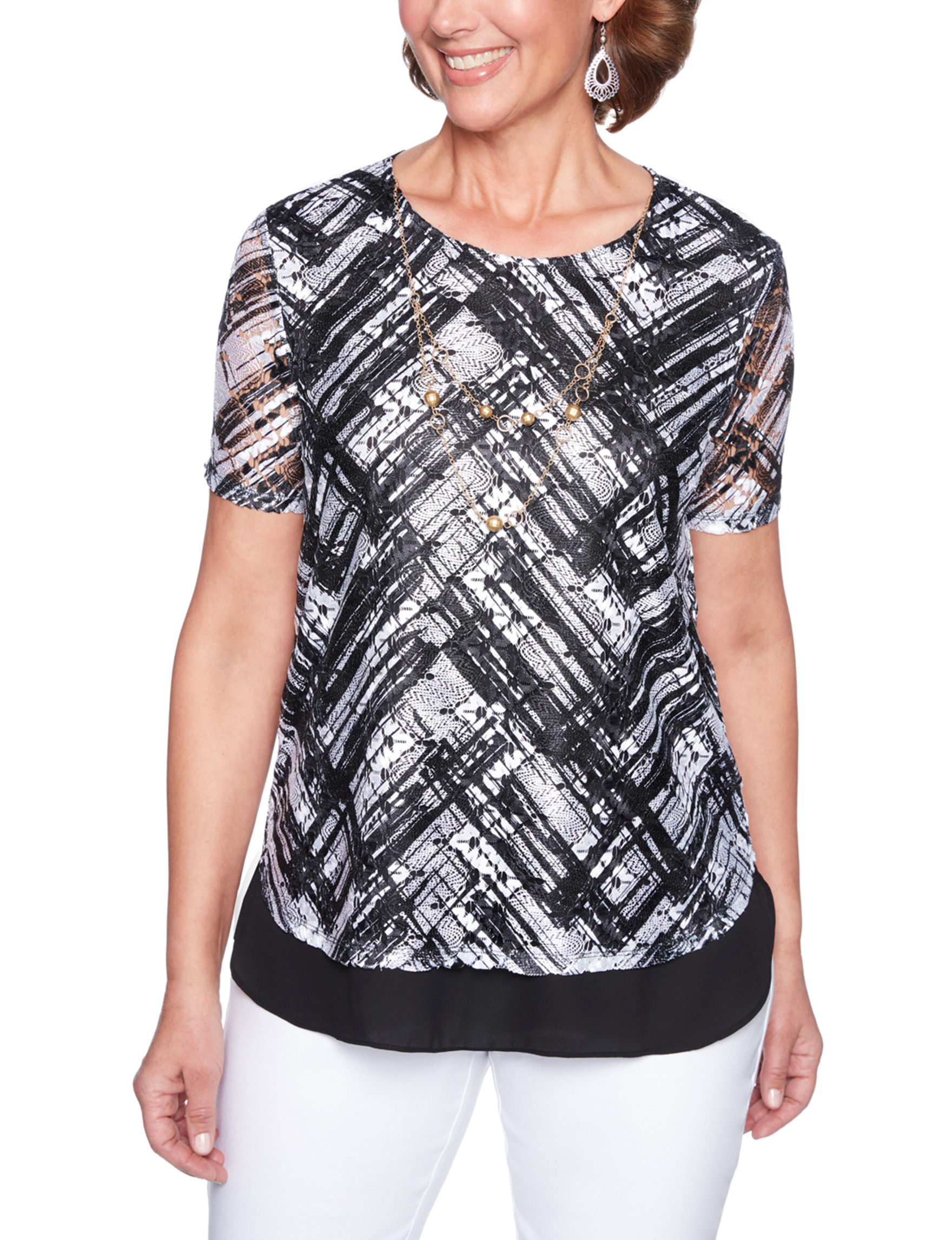 Alfred Dunner Black / White Shirts & Blouses