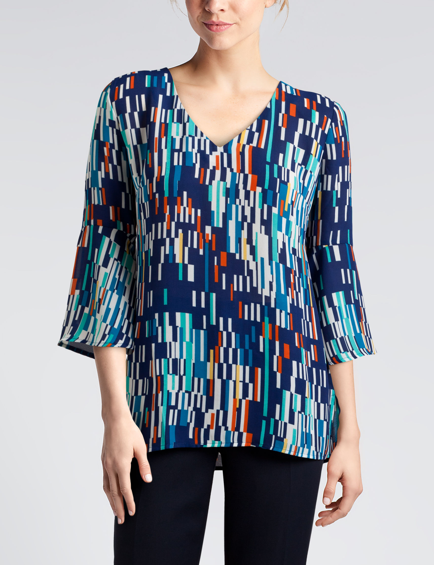 Sunny Leigh Blue Multi Shirts & Blouses