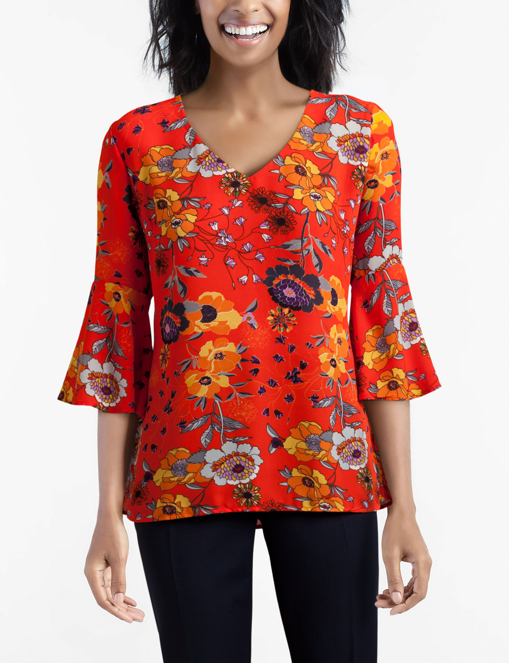 Sunny Leigh Orange Multi Shirts & Blouses