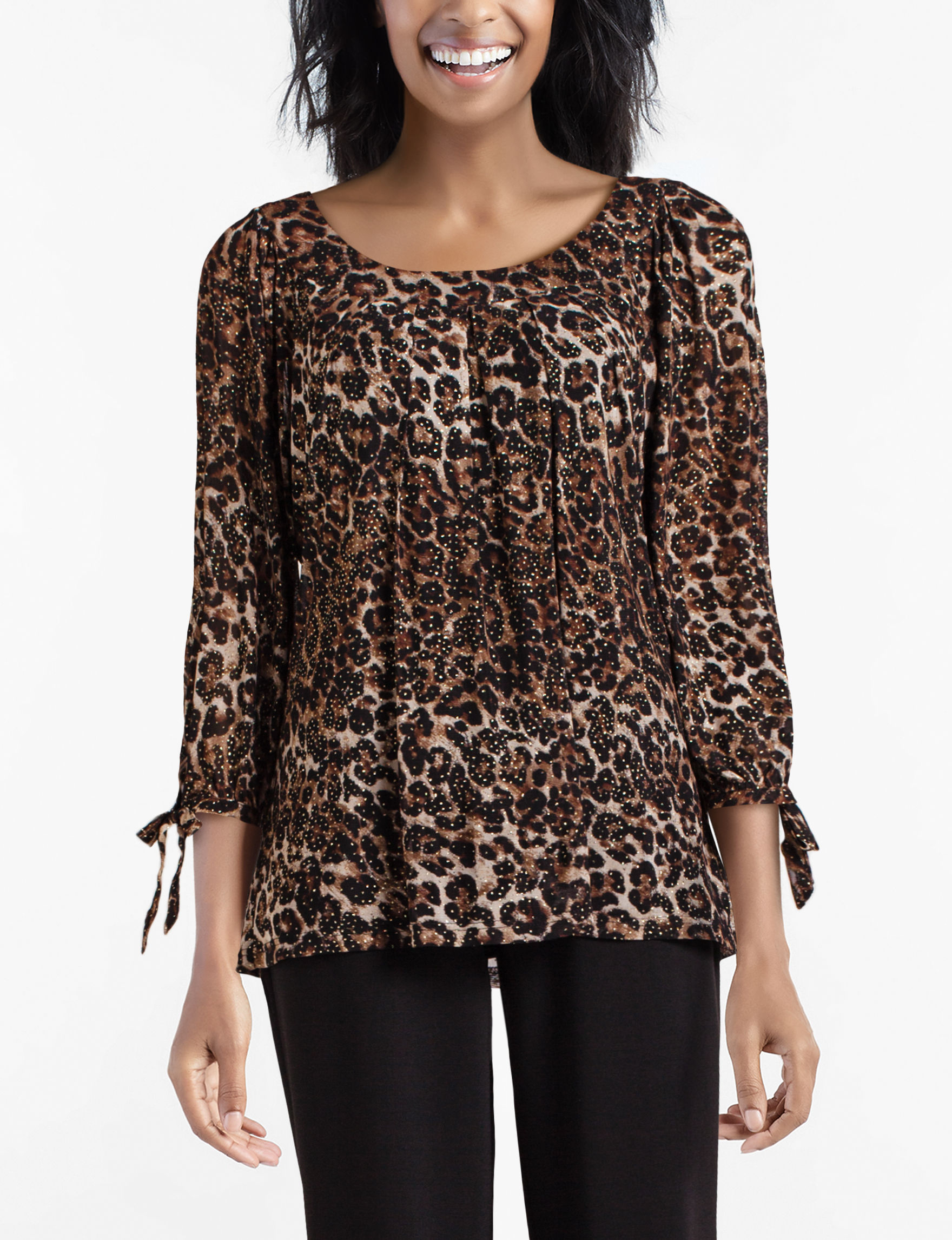 Sara Michelle Brown Multi Shirts & Blouses