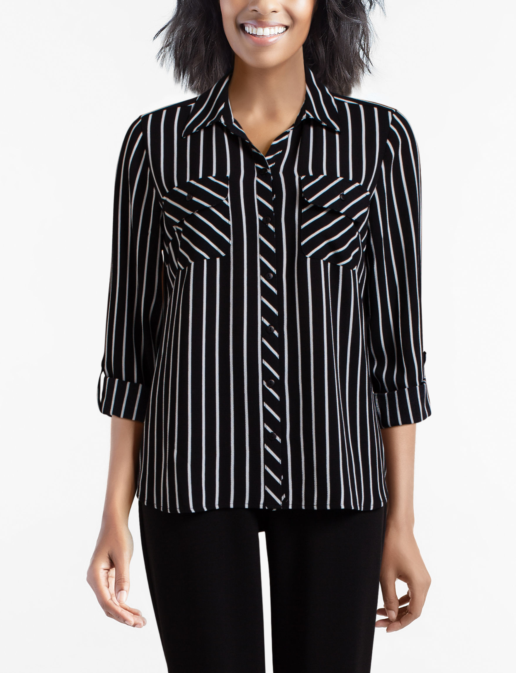 Sara Michelle White / Black Shirts & Blouses