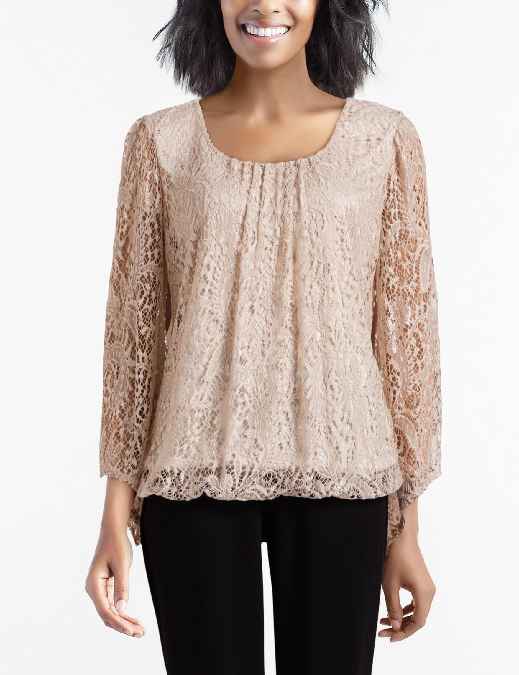 Sara Michelle Beige Shirts & Blouses