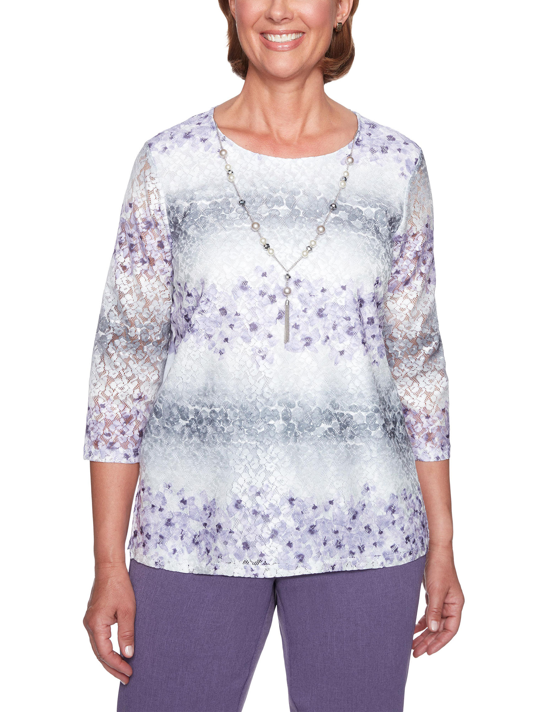 Alfred Dunner Purple Shirts & Blouses