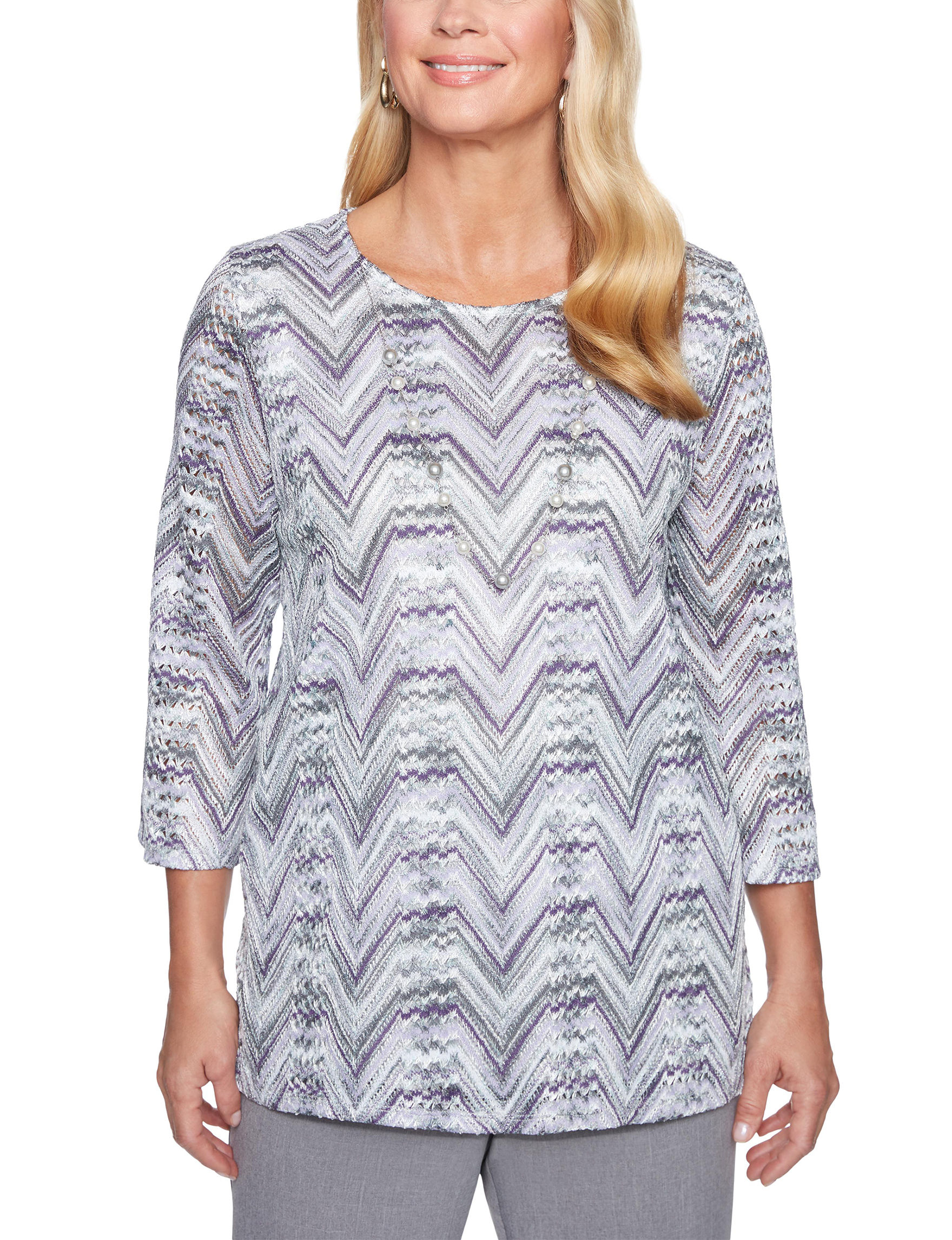 Alfred Dunner Grey / Purple Shirts & Blouses