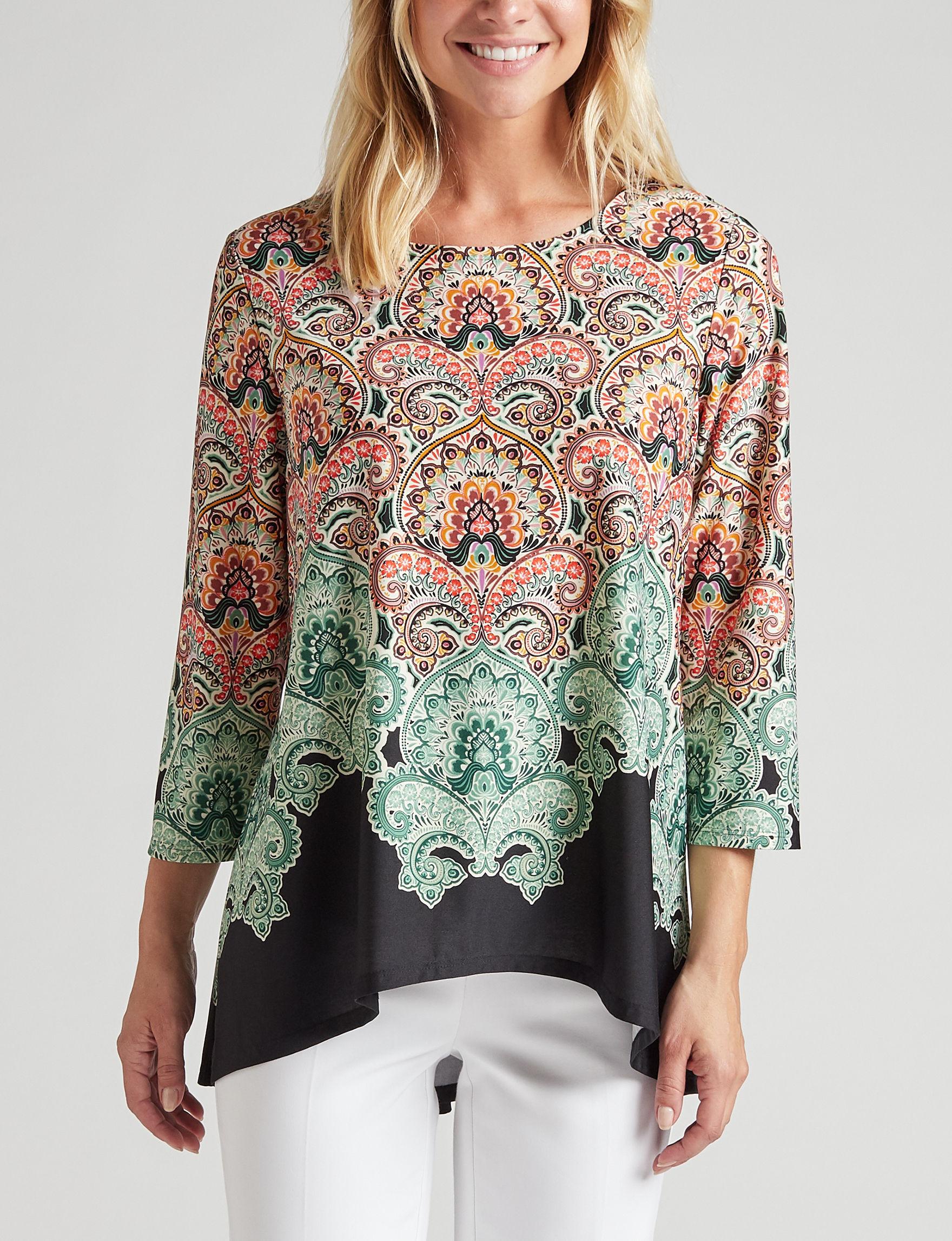 Valerie Stevens Black Paisley Shirts & Blouses