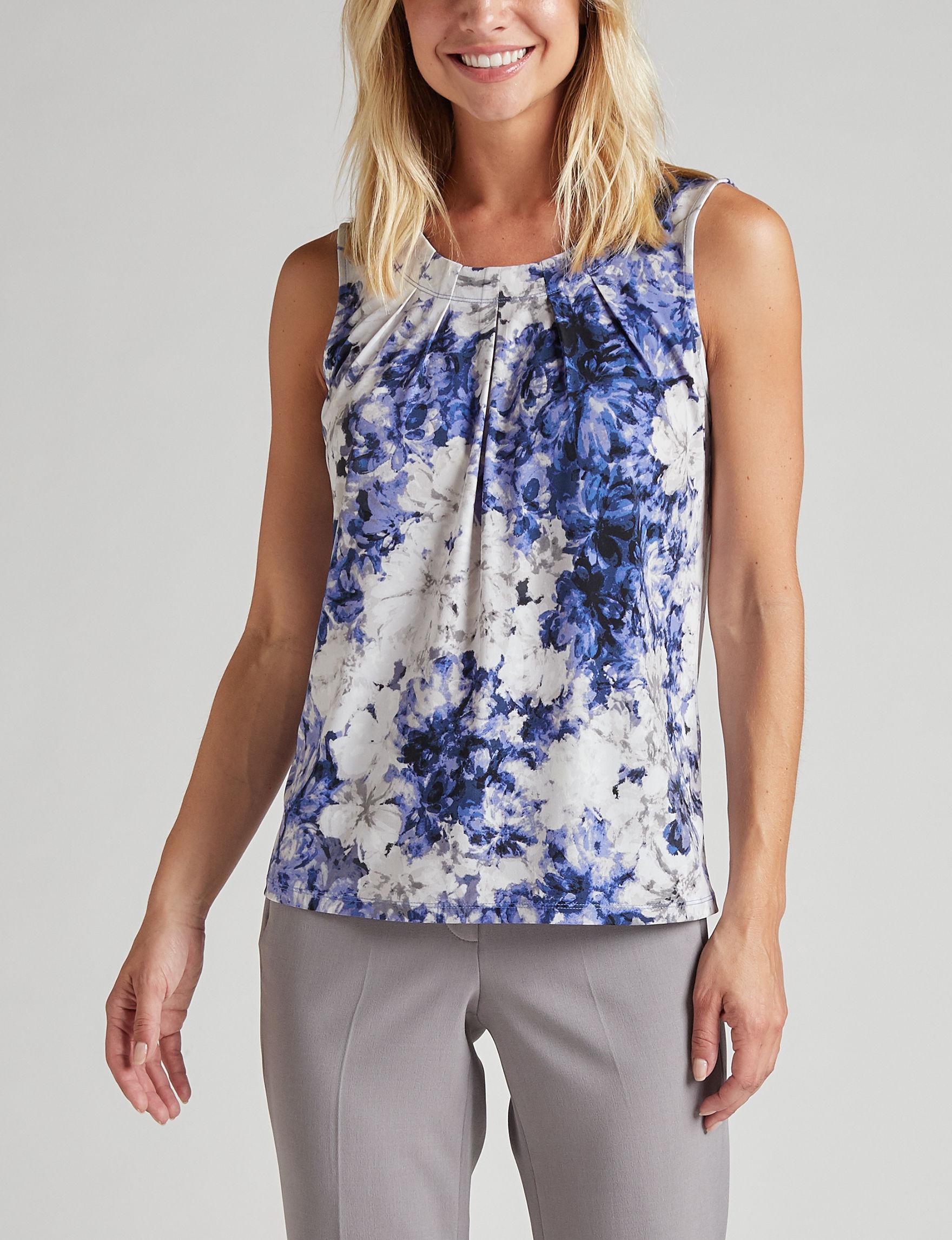 Kasper Blue Multi Shirts & Blouses