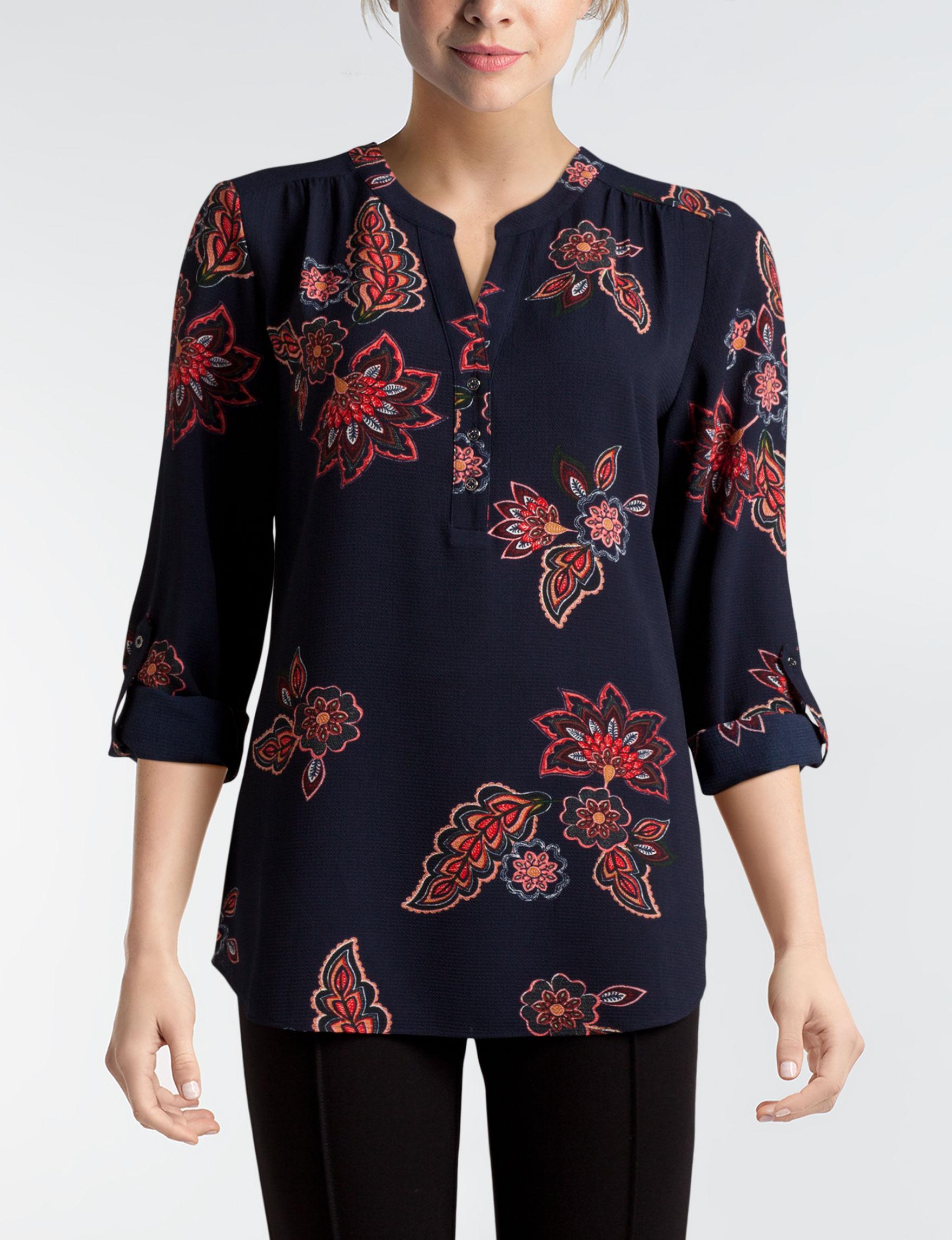 Valerie Stevens Black Multi Shirts & Blouses
