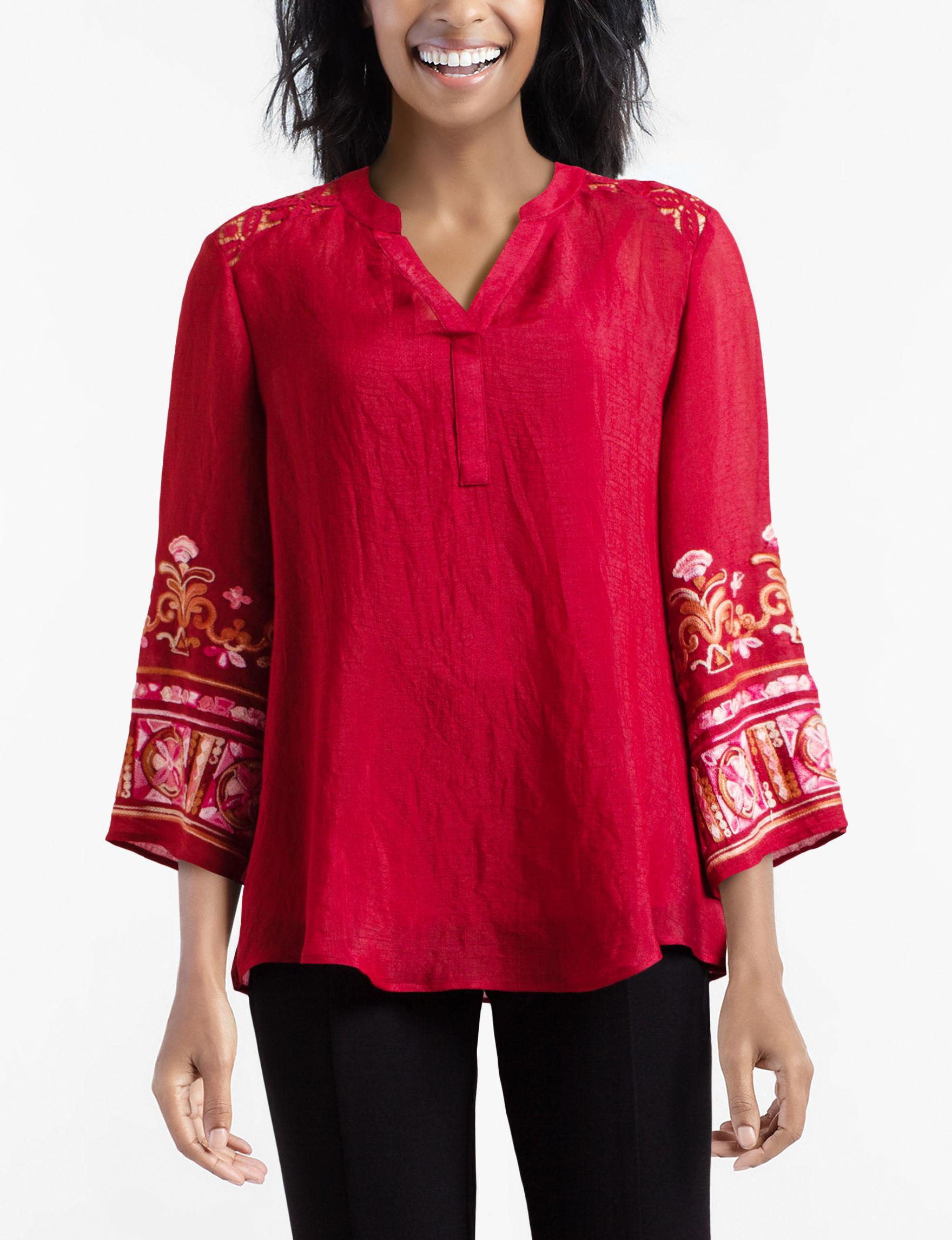 Valerie Stevens Red Shirts & Blouses