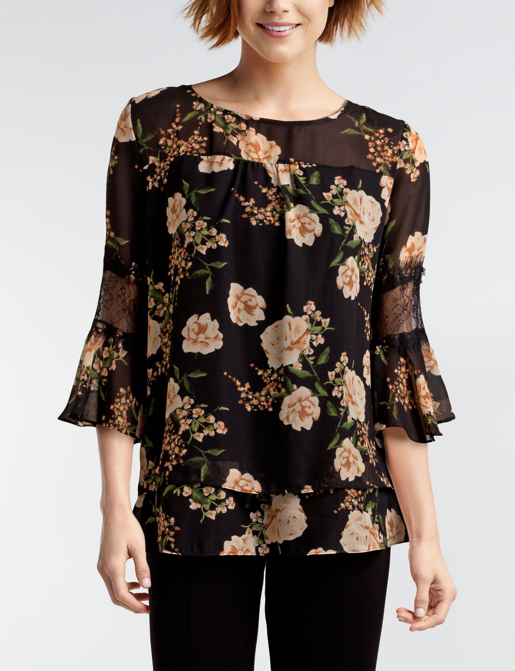 NY Collection Black / Yellow Shirts & Blouses