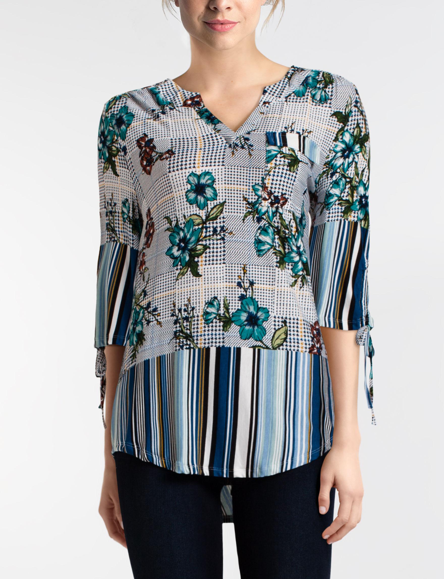 Energe Blue Multi Shirts & Blouses