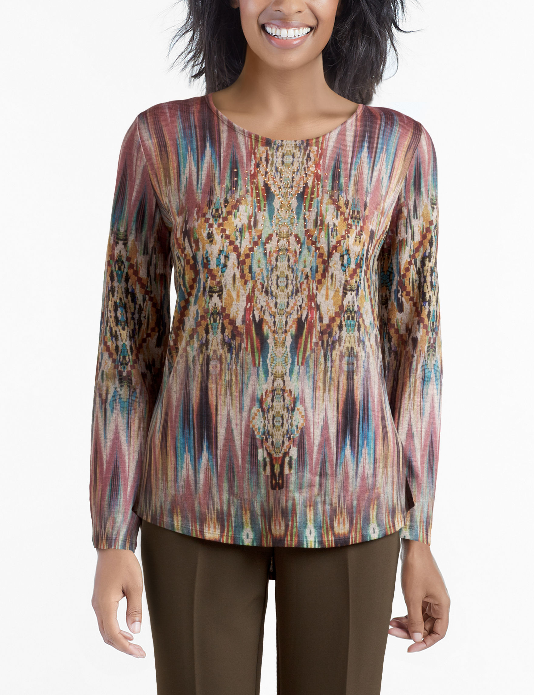 Energe Brown Multi Shirts & Blouses