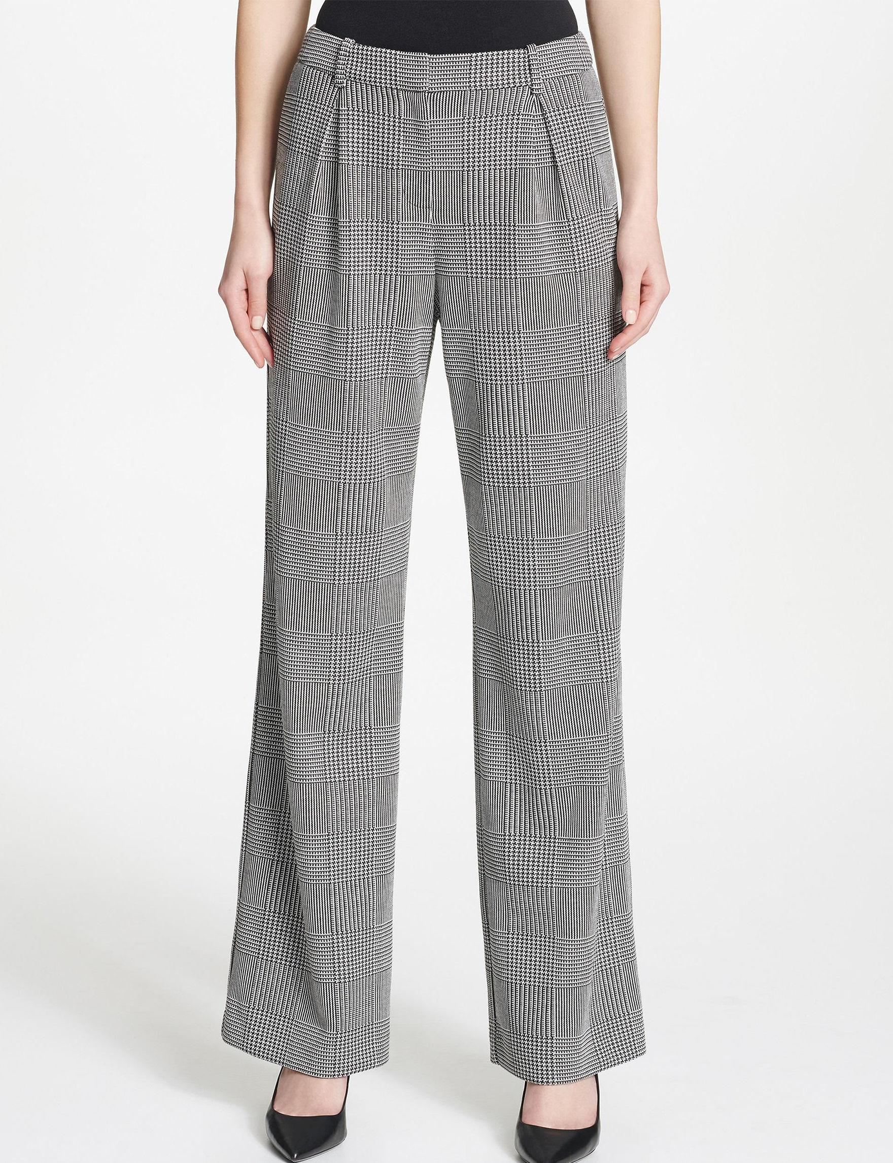 Calvin Klein Black / White Soft Pants Wide Leg