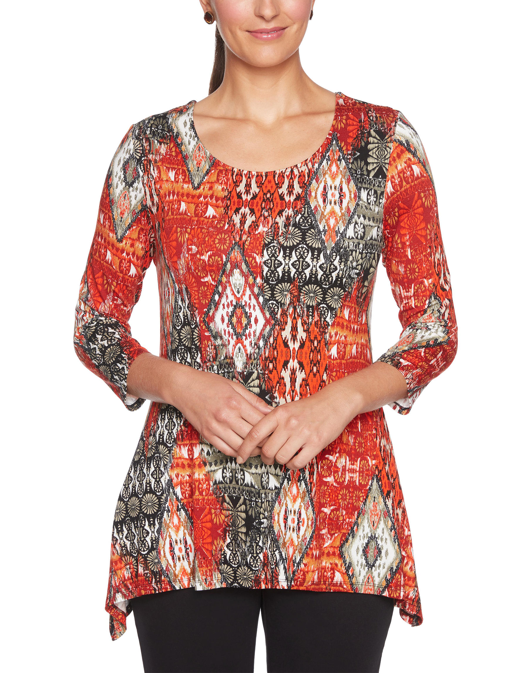 Ruby Road Red Multi Shirts & Blouses
