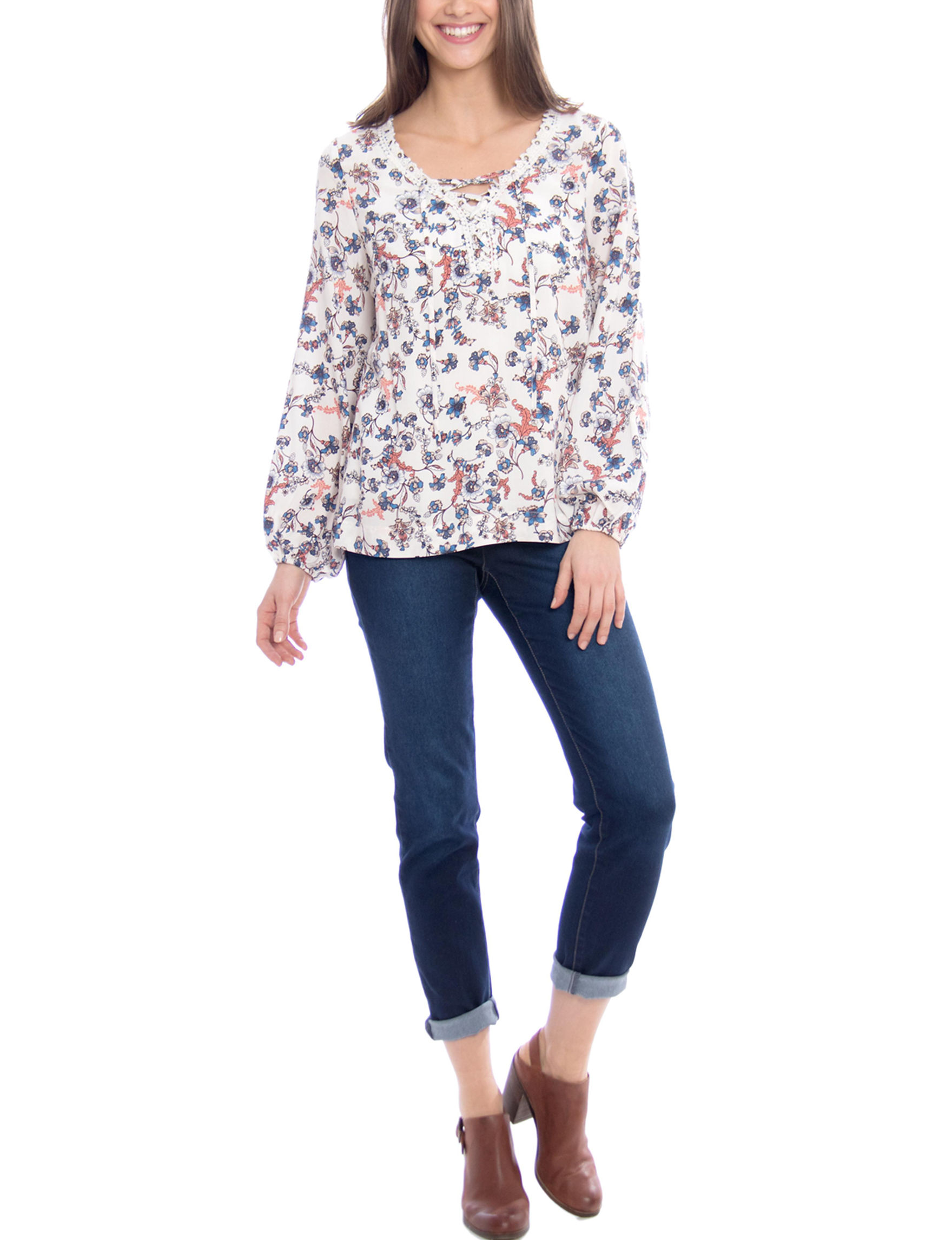 Skyes The Limit White Floral Shirts & Blouses