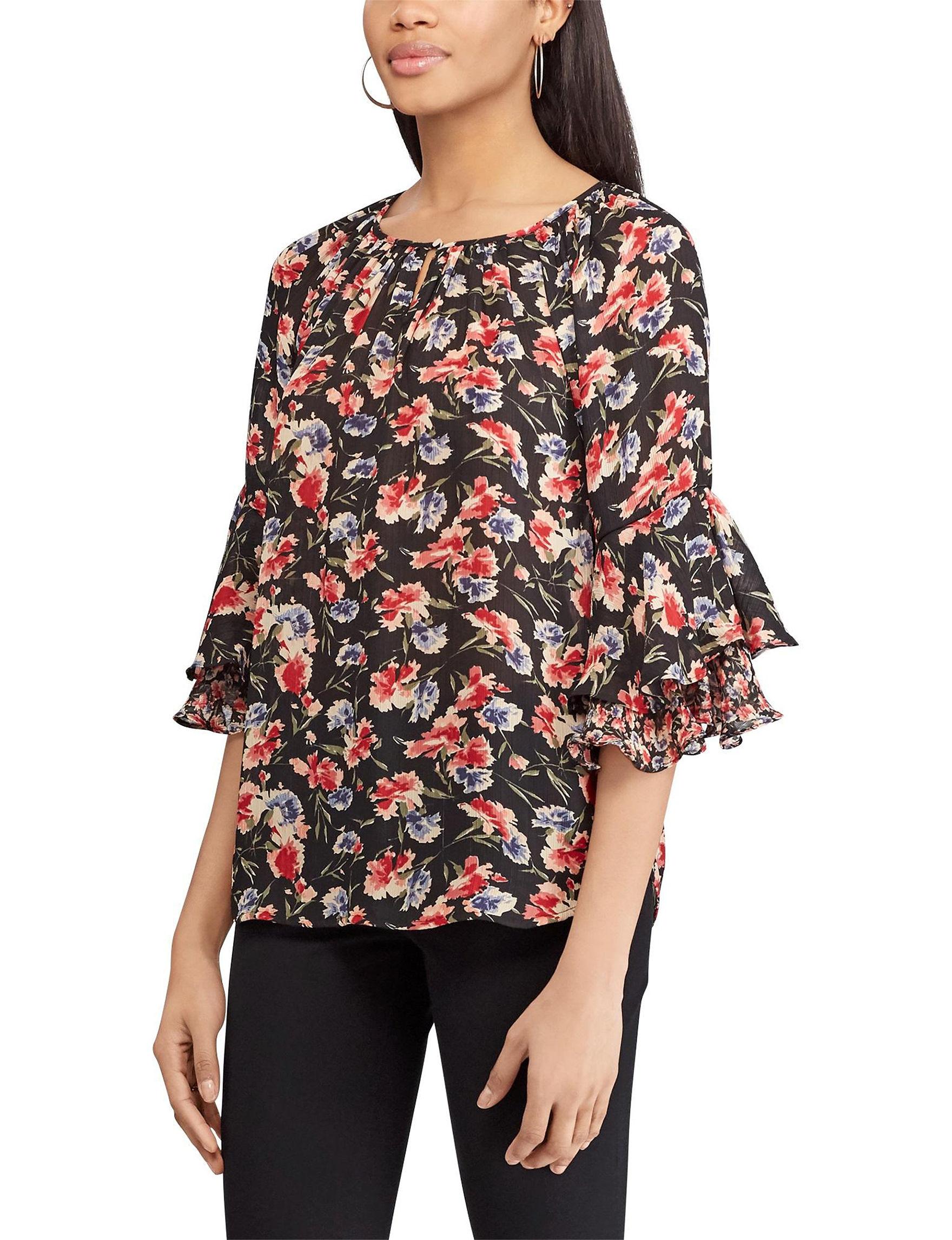 Chaps Black Multi Shirts & Blouses