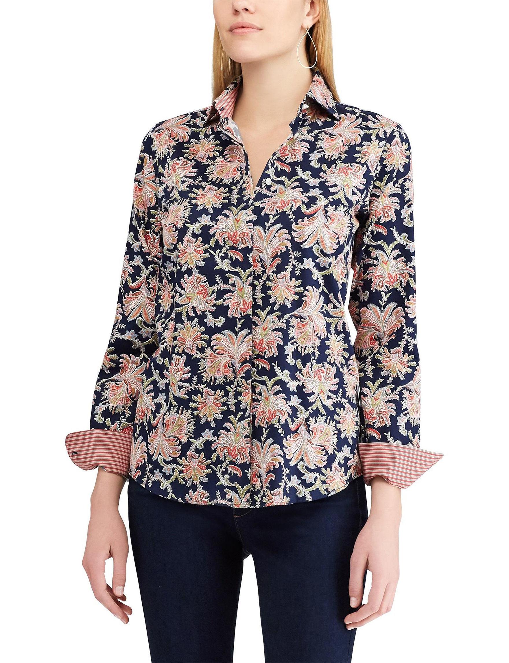 Chaps Blue Floral Shirts & Blouses