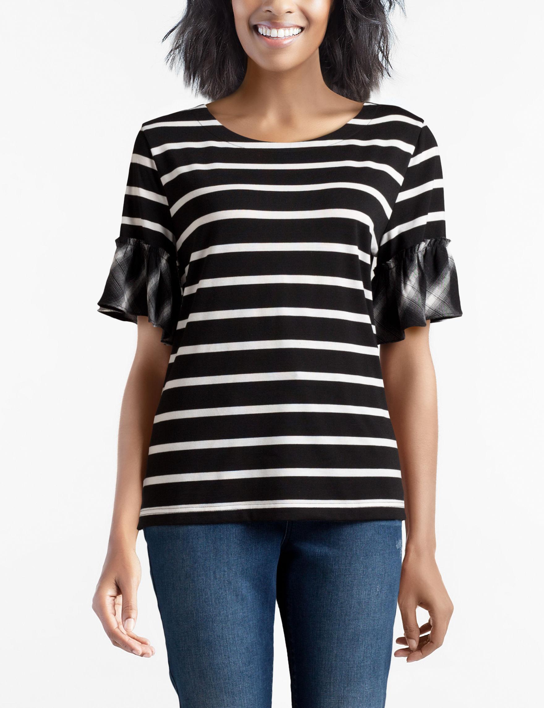Isela Black Shirts & Blouses