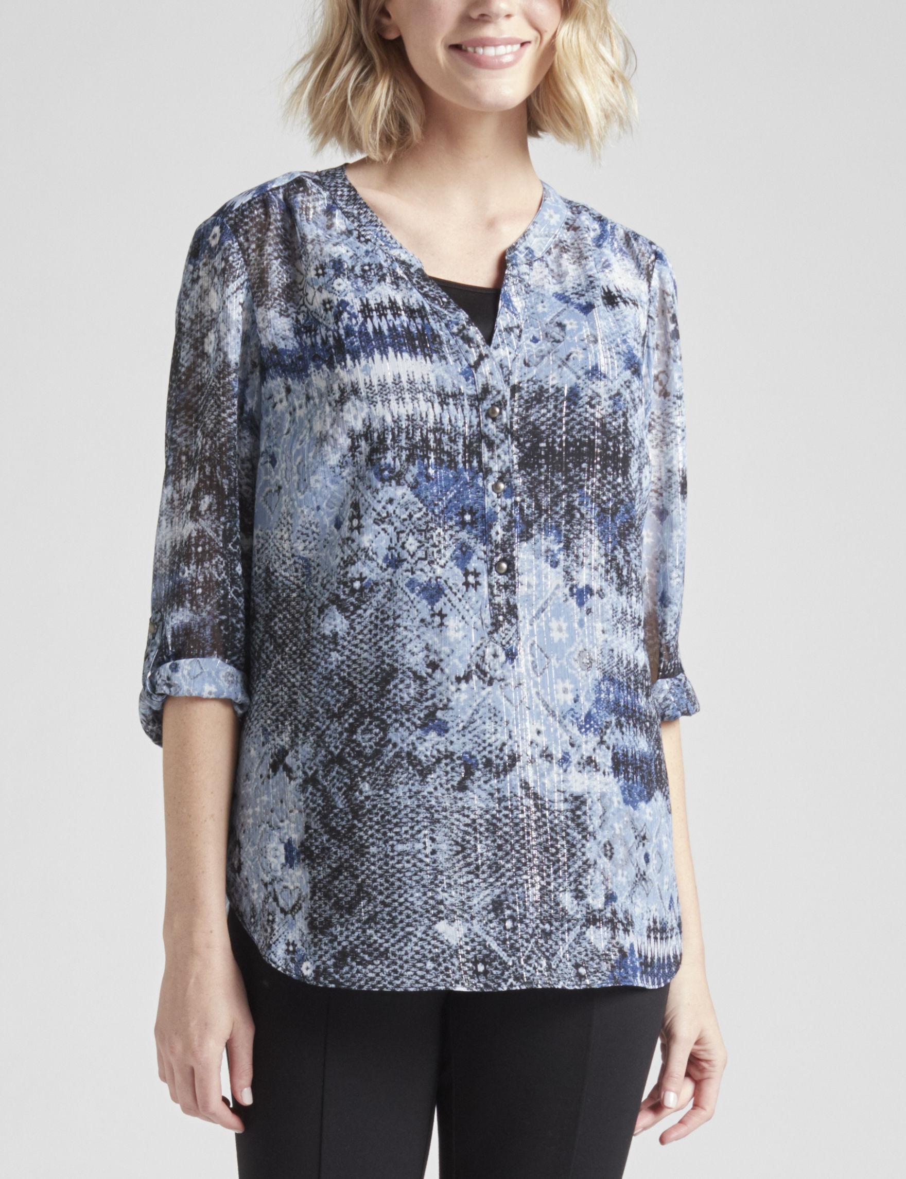 Sara Michelle Blue Shirts & Blouses