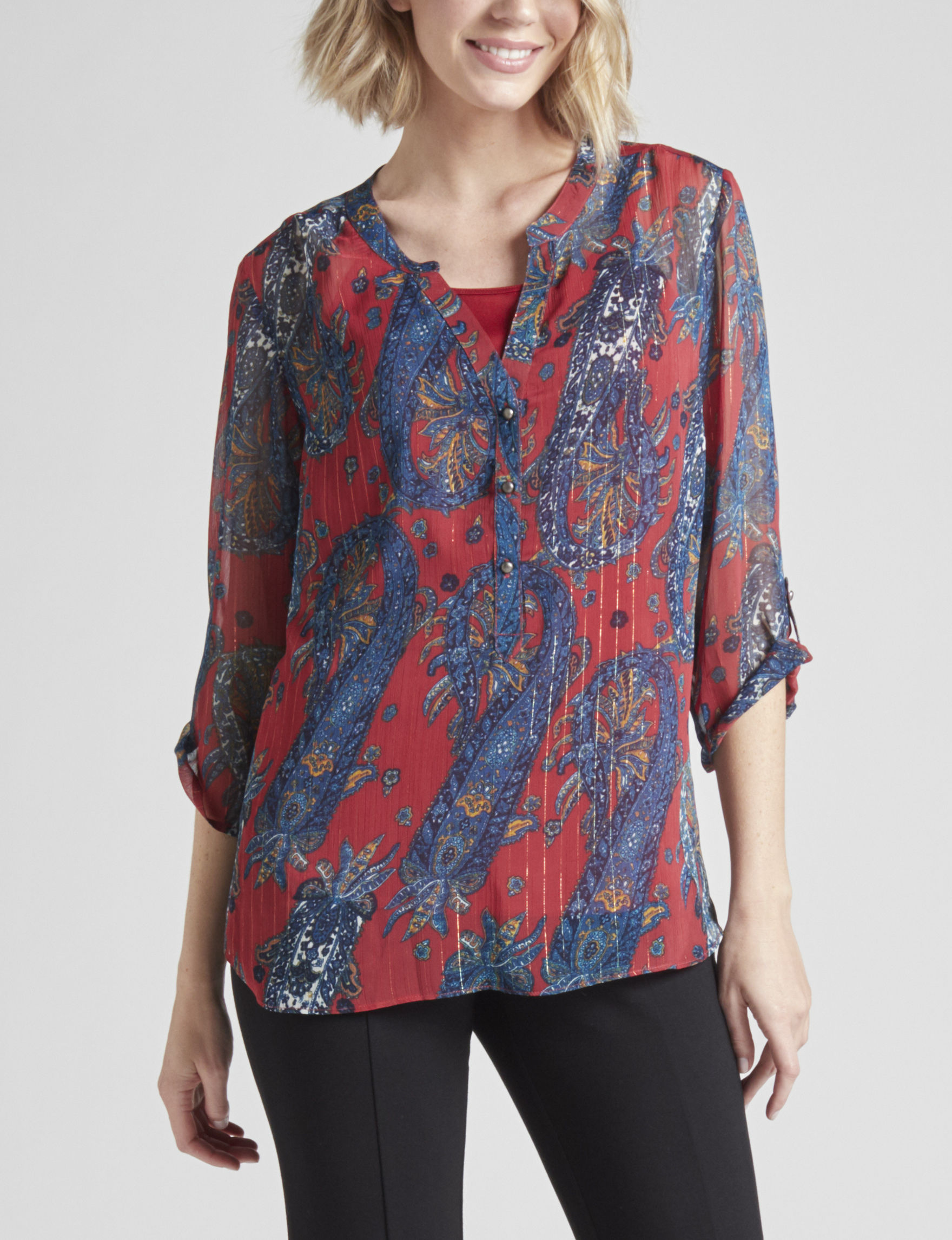 Sara Michelle Red / Blue Shirts & Blouses