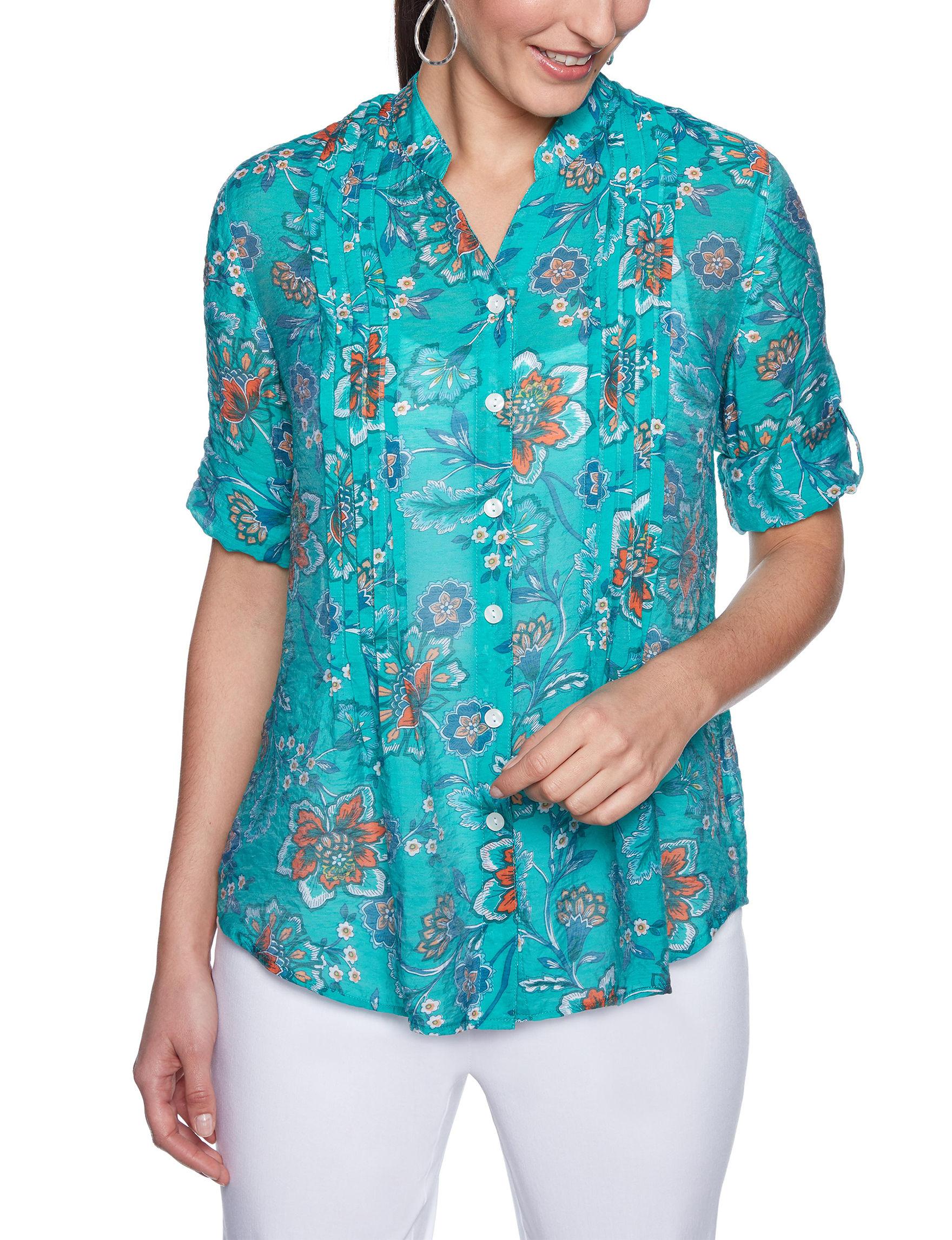 Ruby Road Aqua Shirts & Blouses