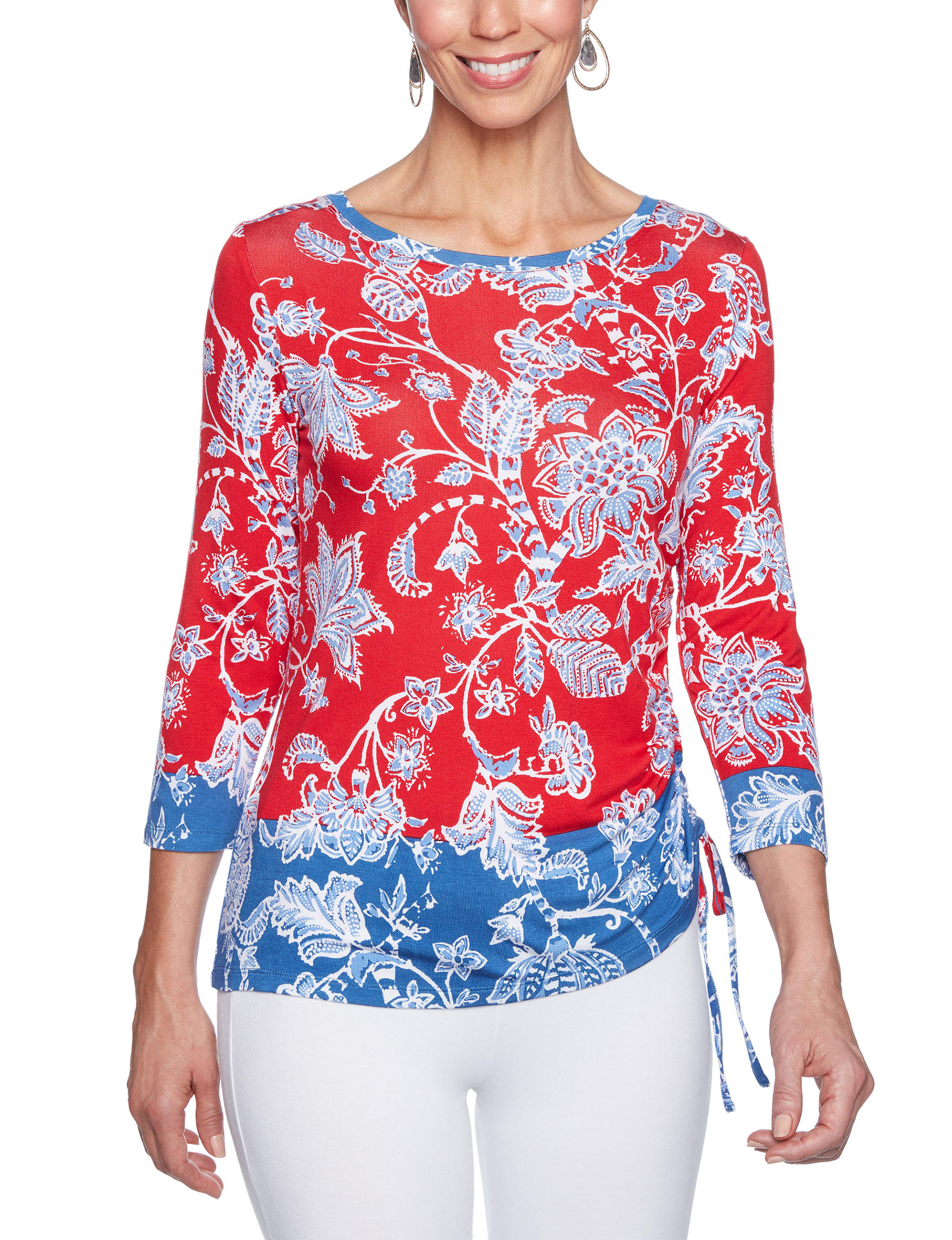 Ruby Road Red / Blue Shirts & Blouses