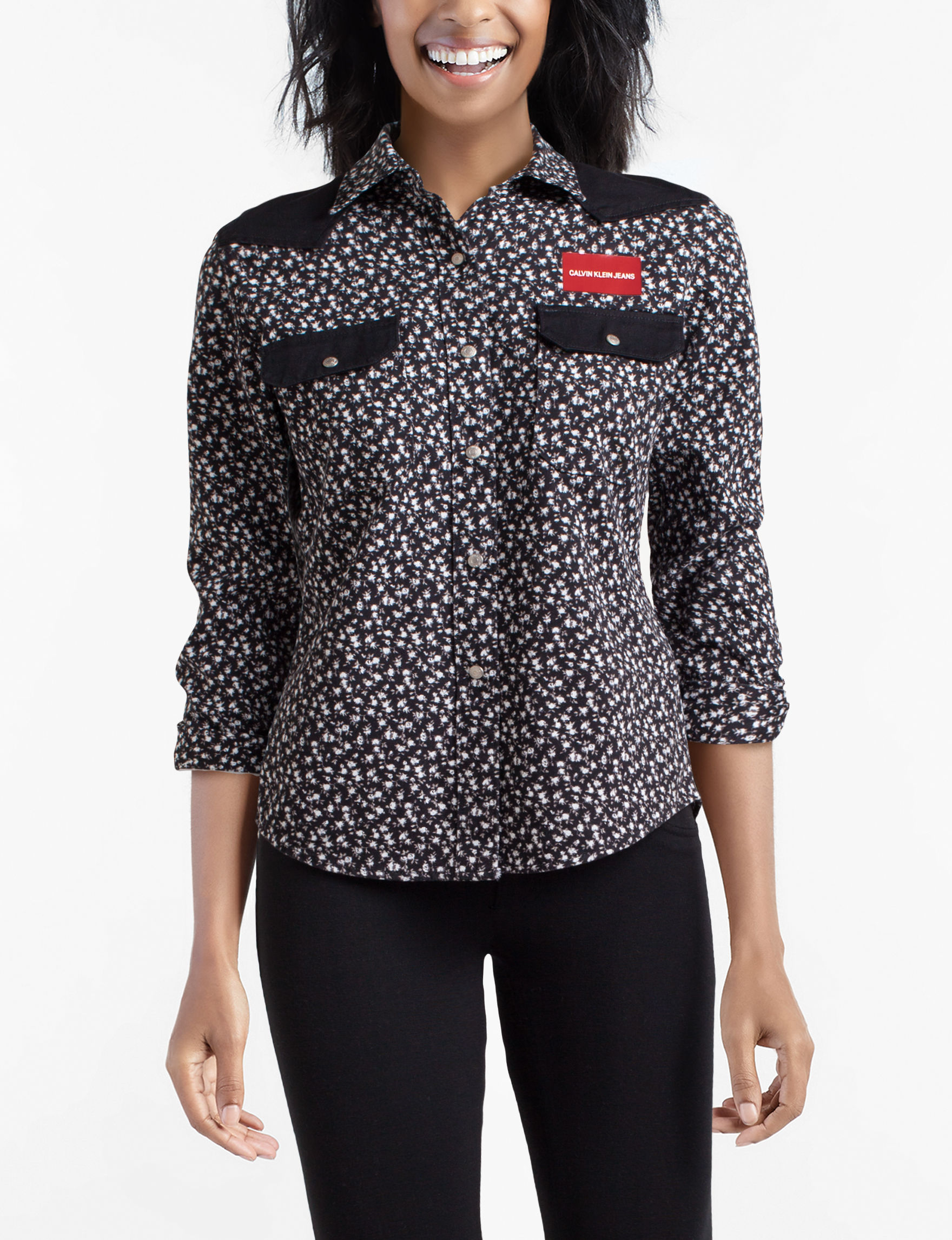 Calvin Klein Jeans Black White Shirts & Blouses