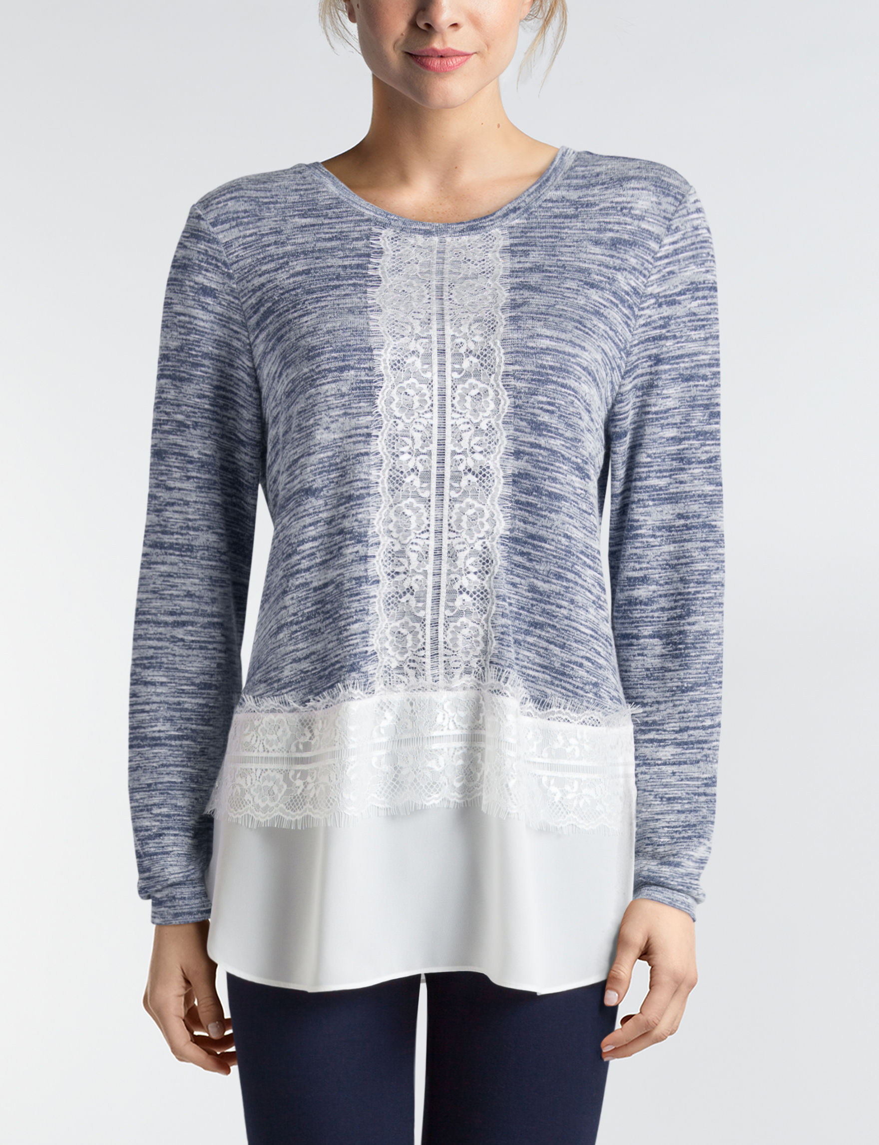 Valerie Stevens Navy / White Shirts & Blouses