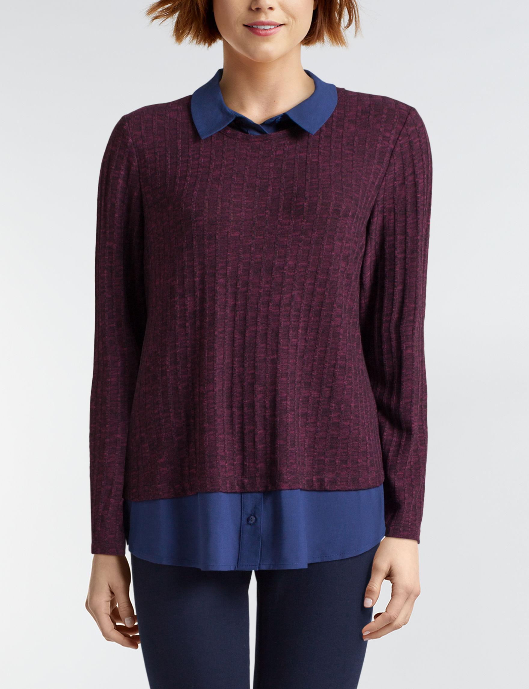Valerie Stevens Navy/ Burgundy Shirts & Blouses
