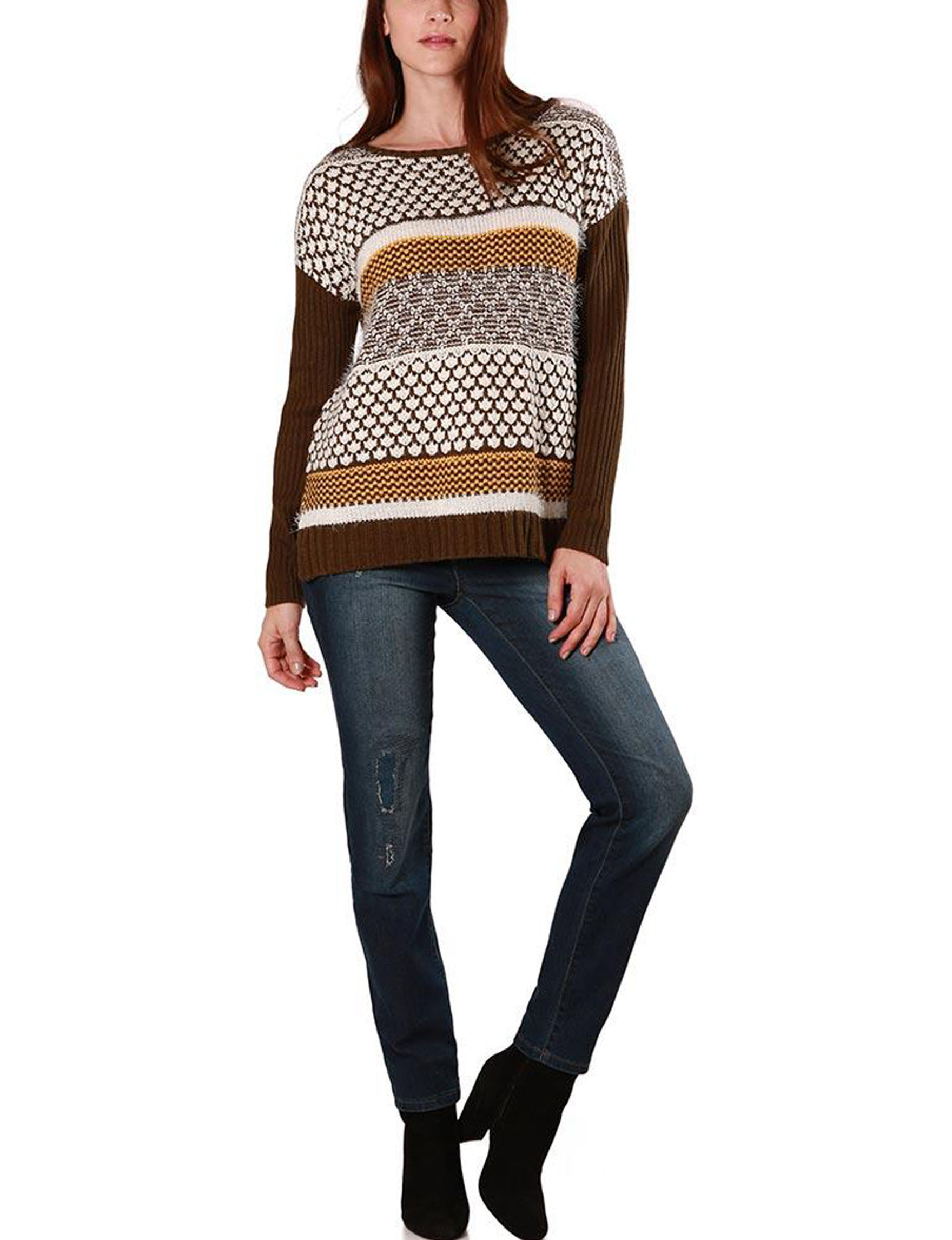 Skyes The Limit Brown Multi Pull-overs