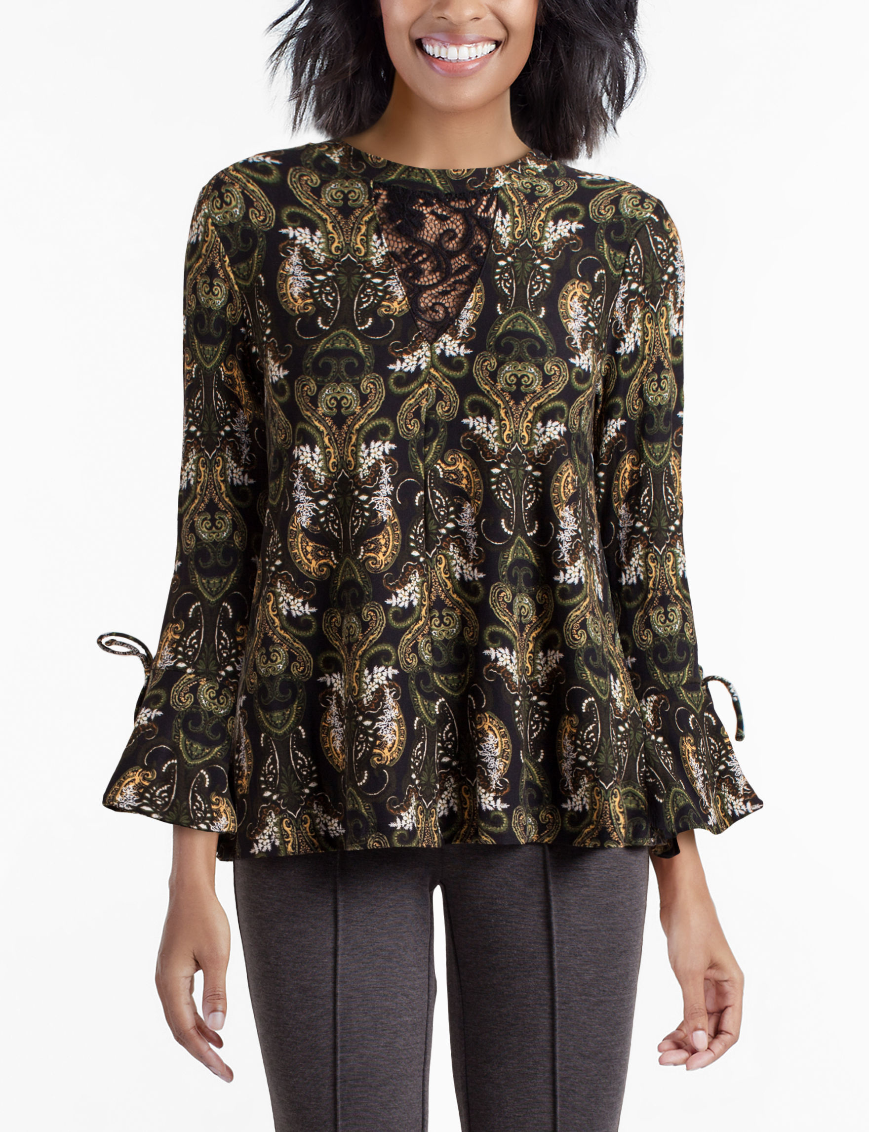 Skyes The Limit Black / Green Shirts & Blouses