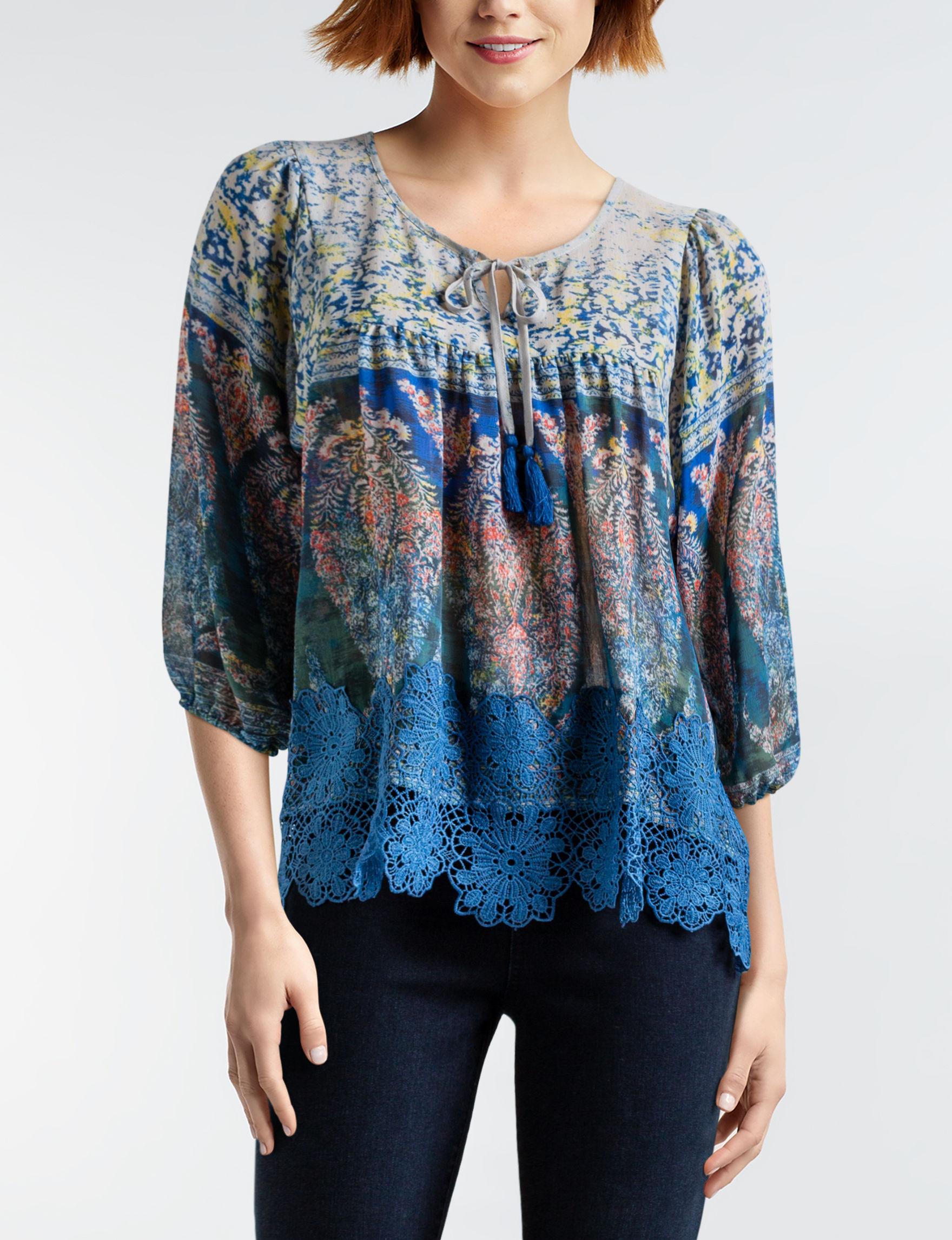 Latitude 10 Blue Multi Shirts & Blouses