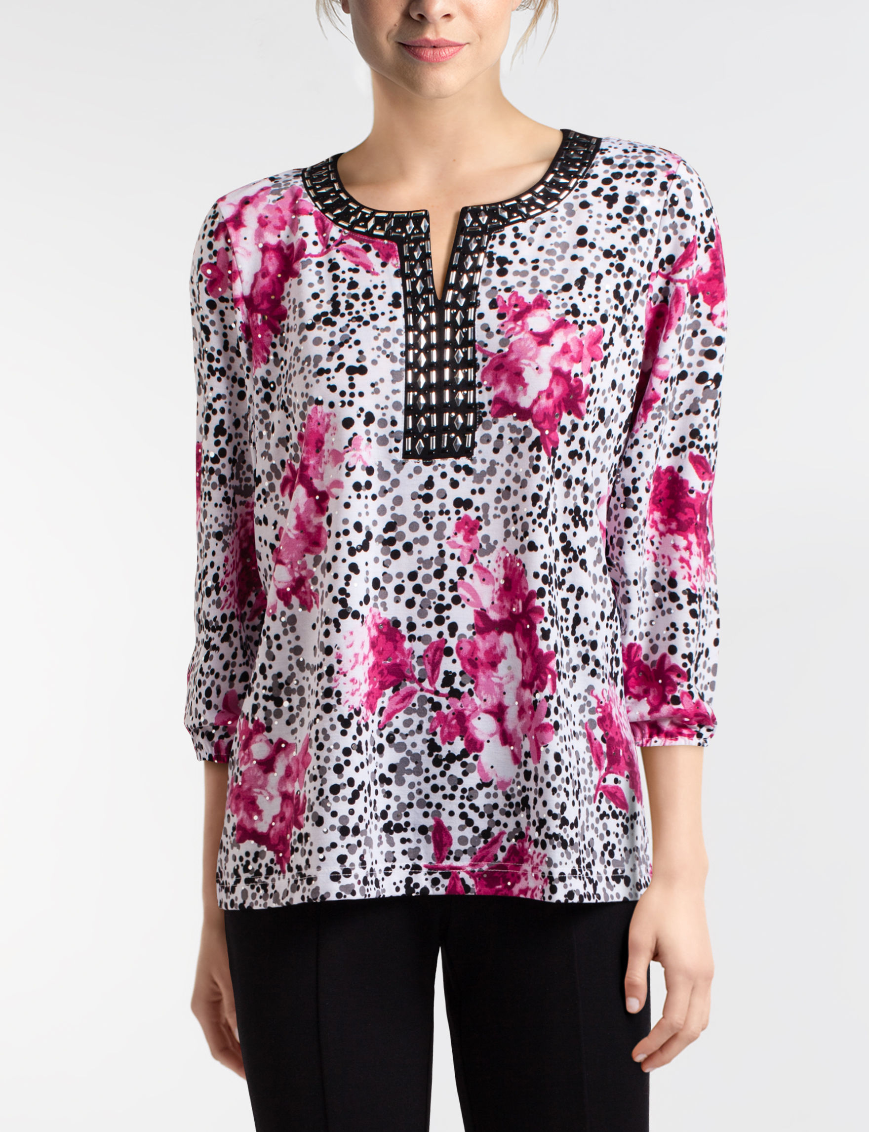 Cathy Daniels Black Multi Shirts & Blouses