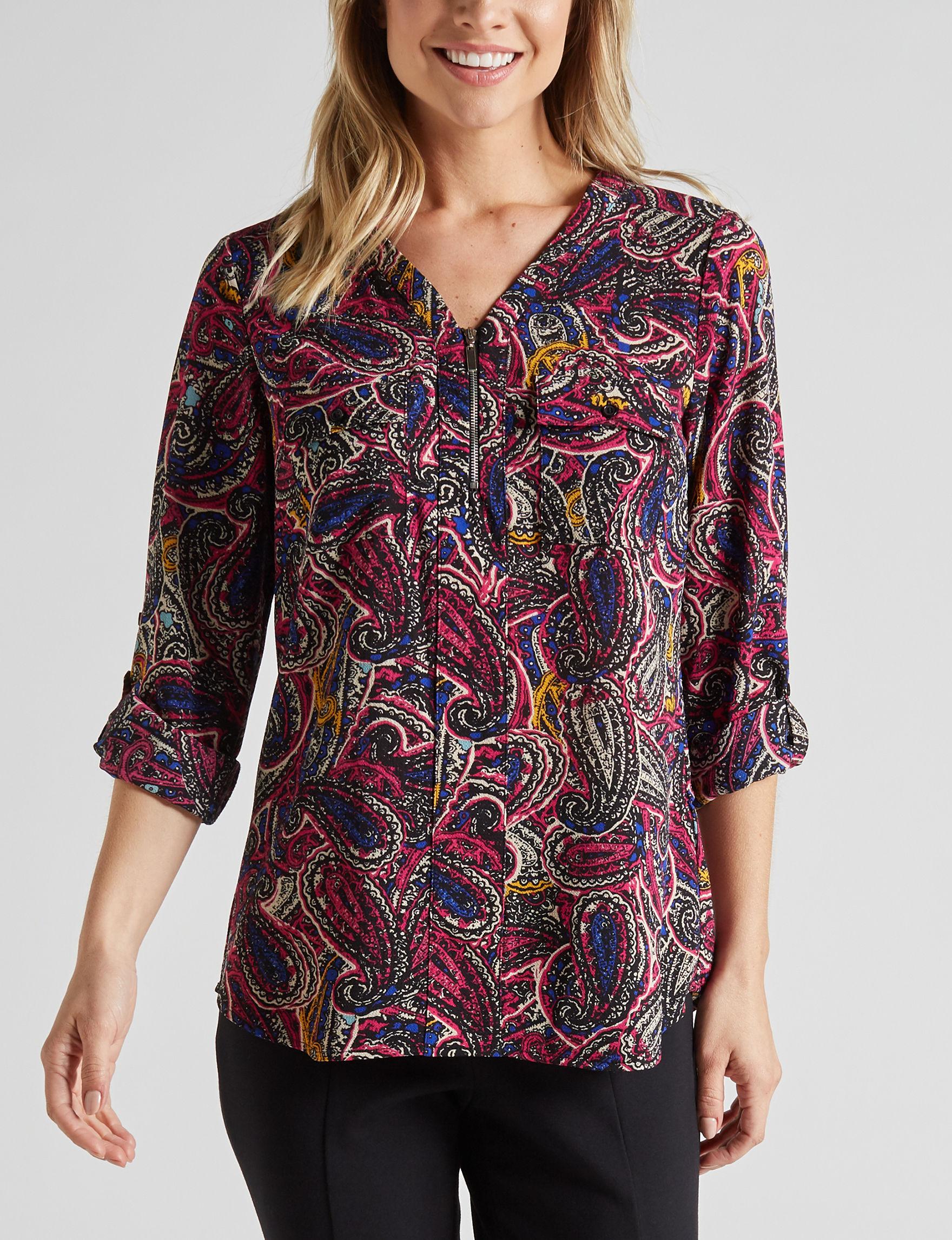 Valerie Stevens Fuschia Multi Shirts & Blouses