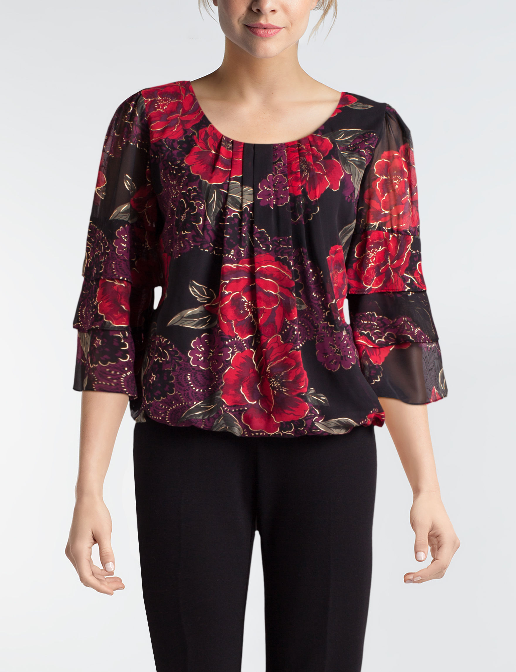 Sara Michelle Red Floral Shirts & Blouses