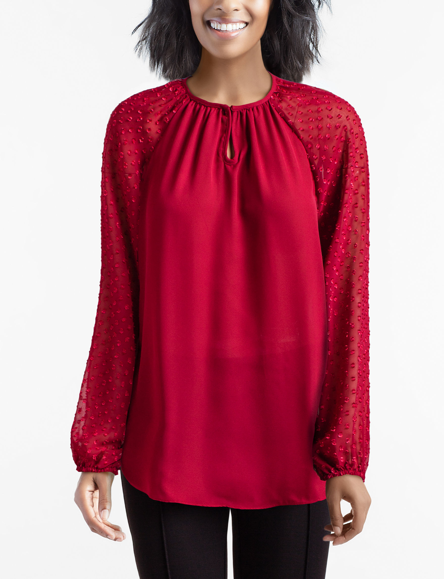 Daisy Fuentes Red Shirts & Blouses