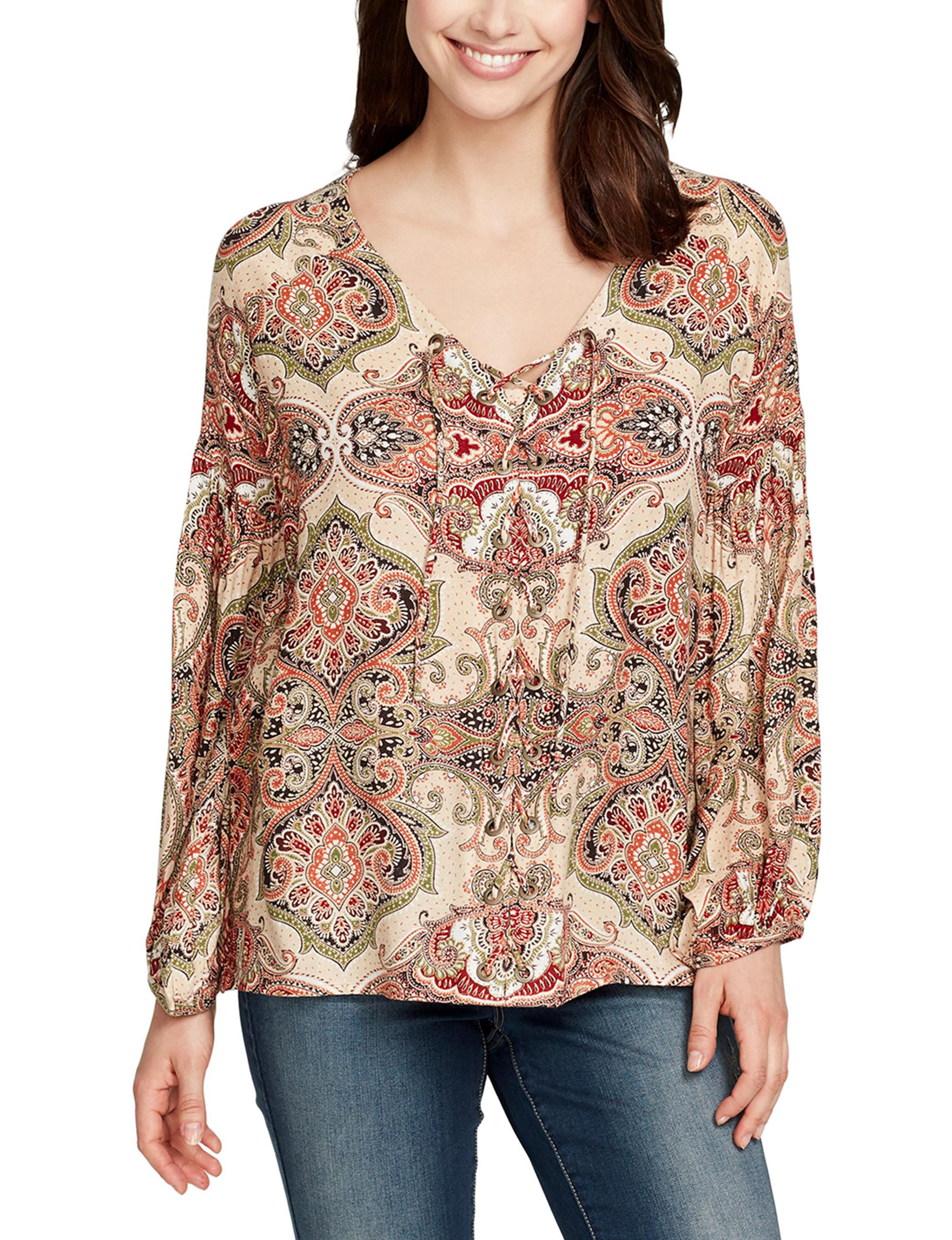 Nine West Jeans Brown Multi Shirts & Blouses