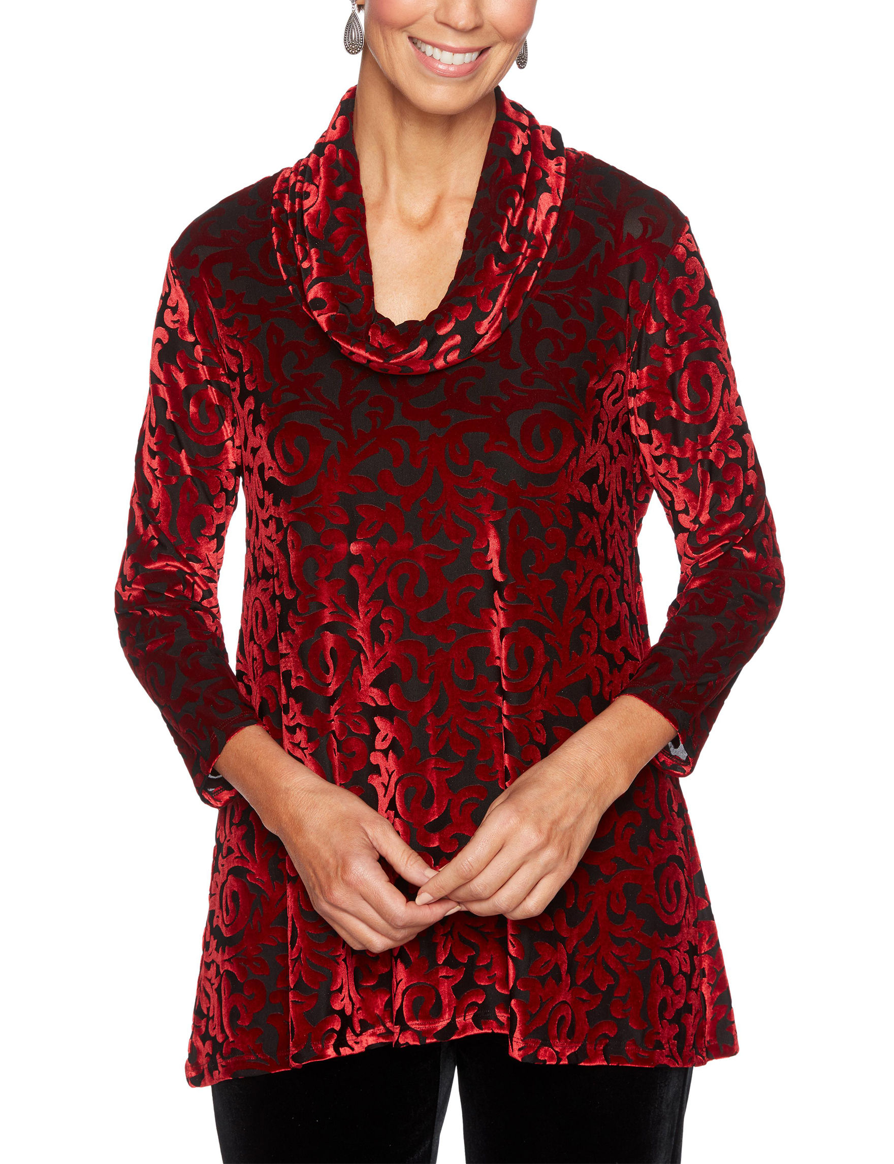 Ruby Road Red / Black Shirts & Blouses