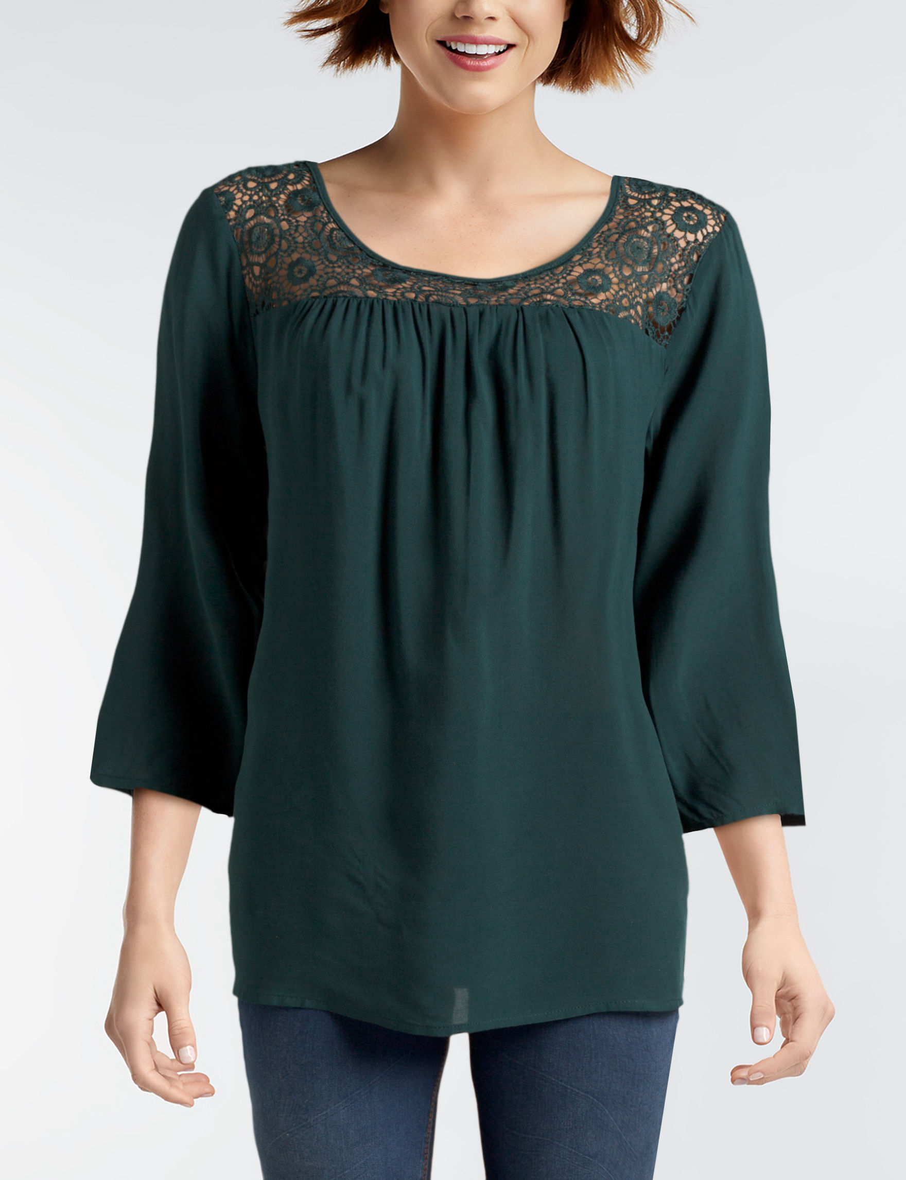NY Collection Teal Shirts & Blouses