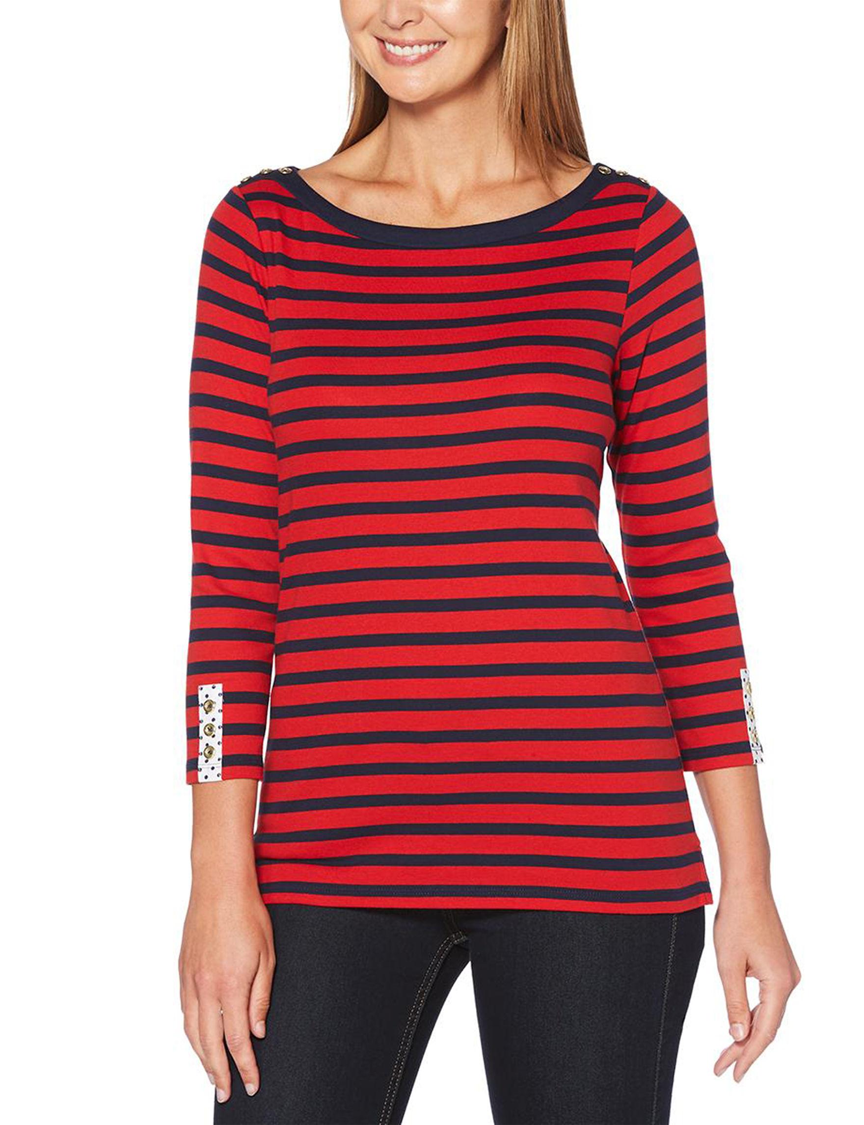 Rafaella Red / Black Shirts & Blouses