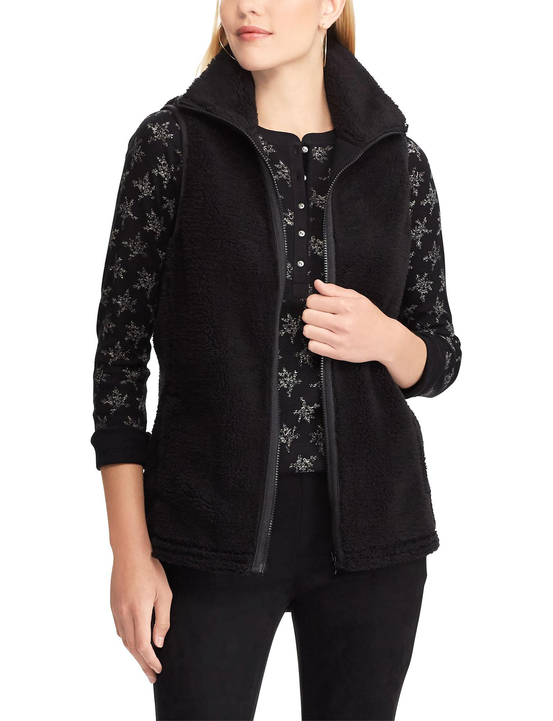 Chaps Black Sweater Vests Vests