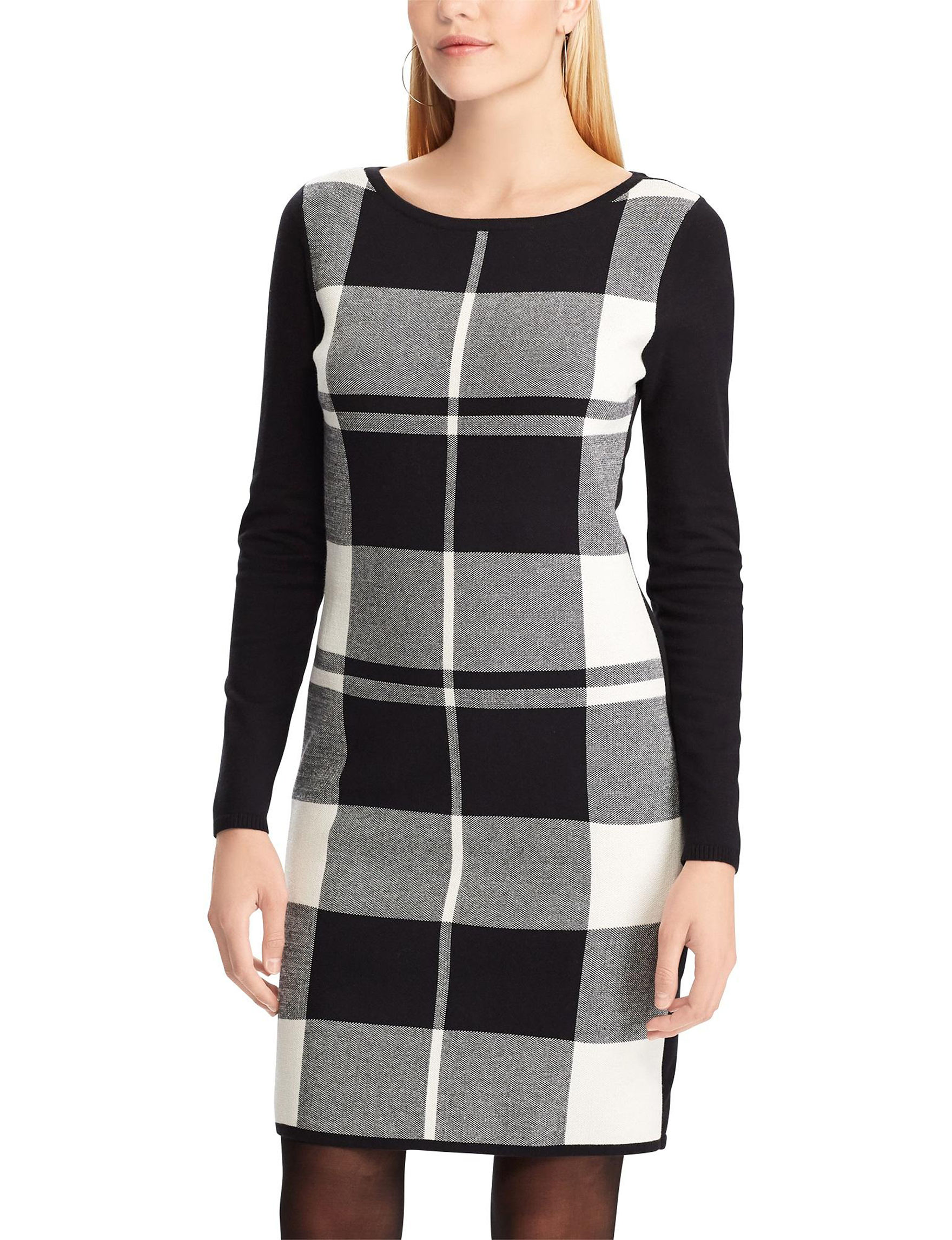 Chaps Black Multi Everyday & Casual Shift Dresses