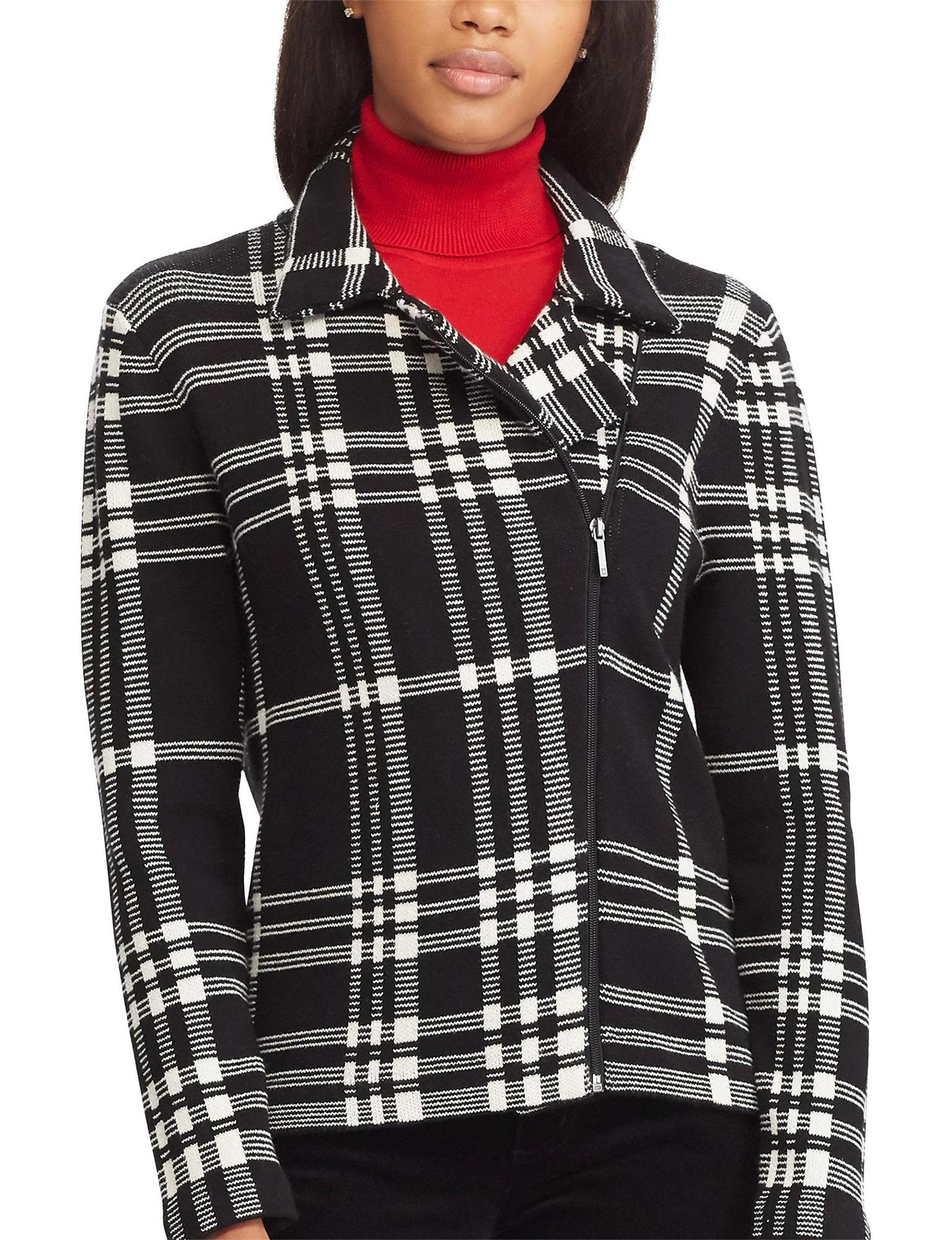 Chaps Black Multi Lightweight Jackets & Blazers