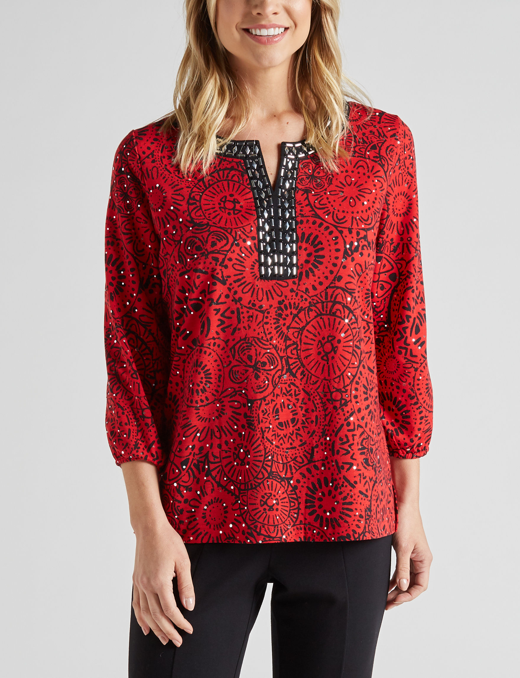 Cathy Daniels Red / Black Shirts & Blouses