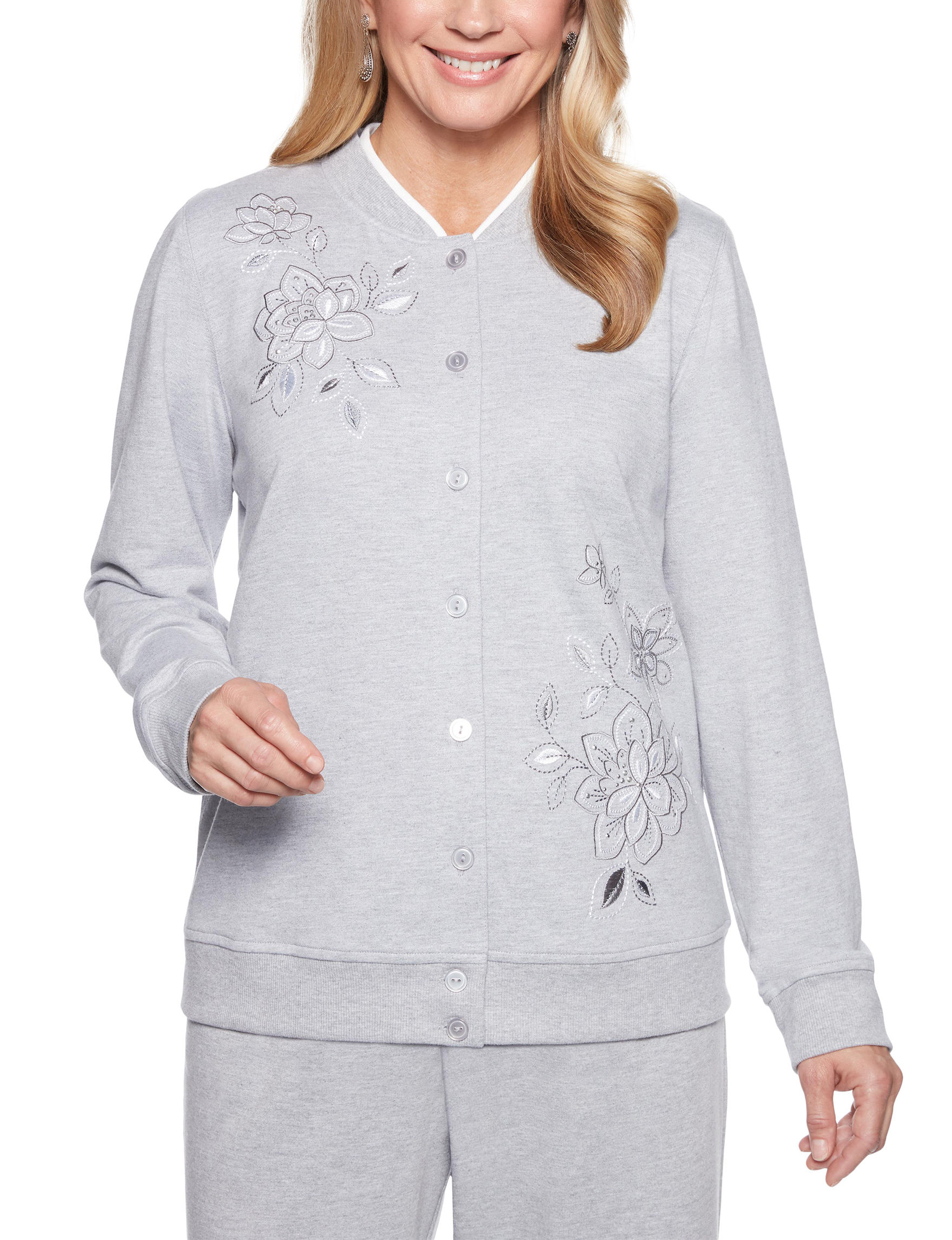 Alfred Dunner Grey Cardigans Shirts & Blouses