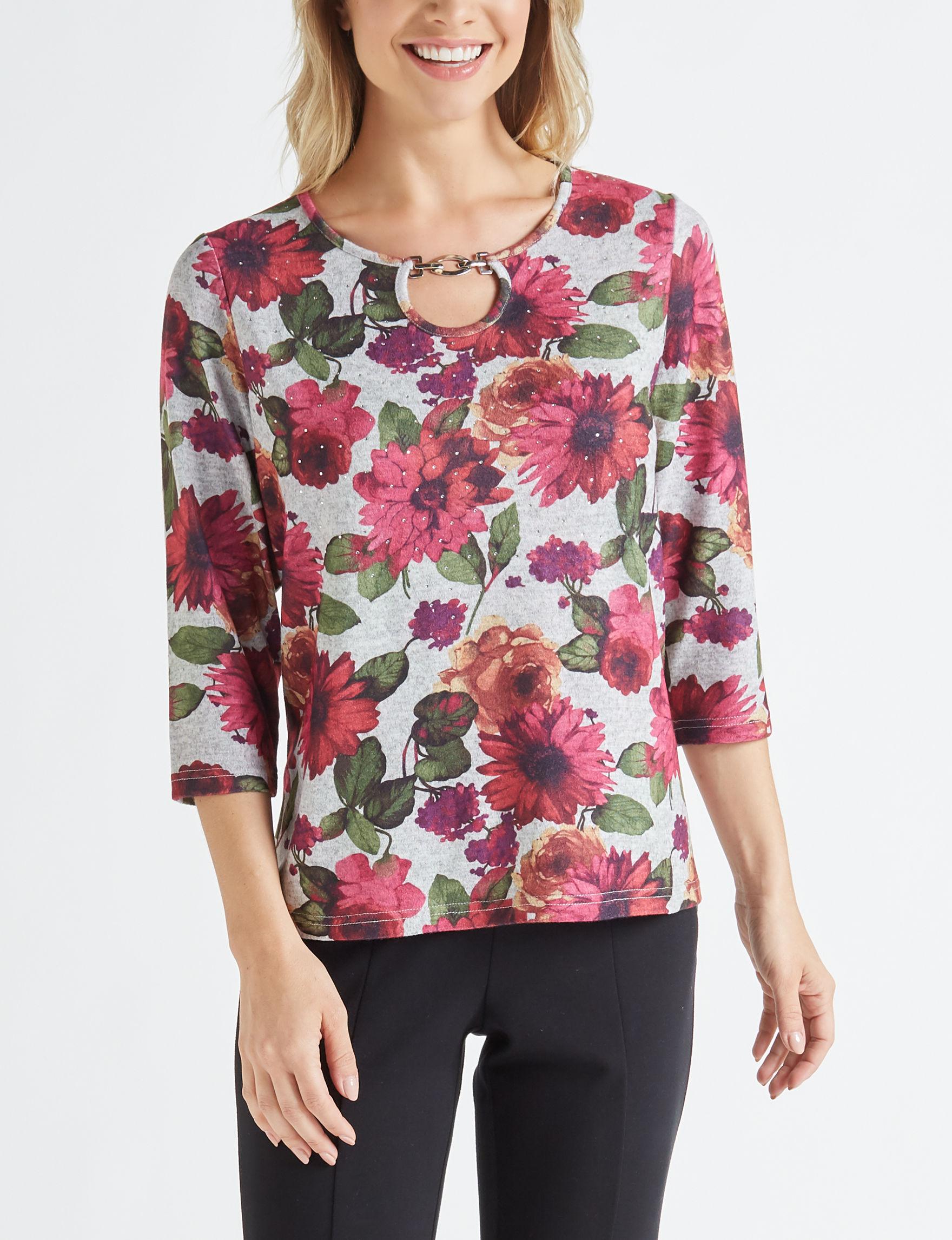 Rebecca Malone Grey Floral Shirts & Blouses