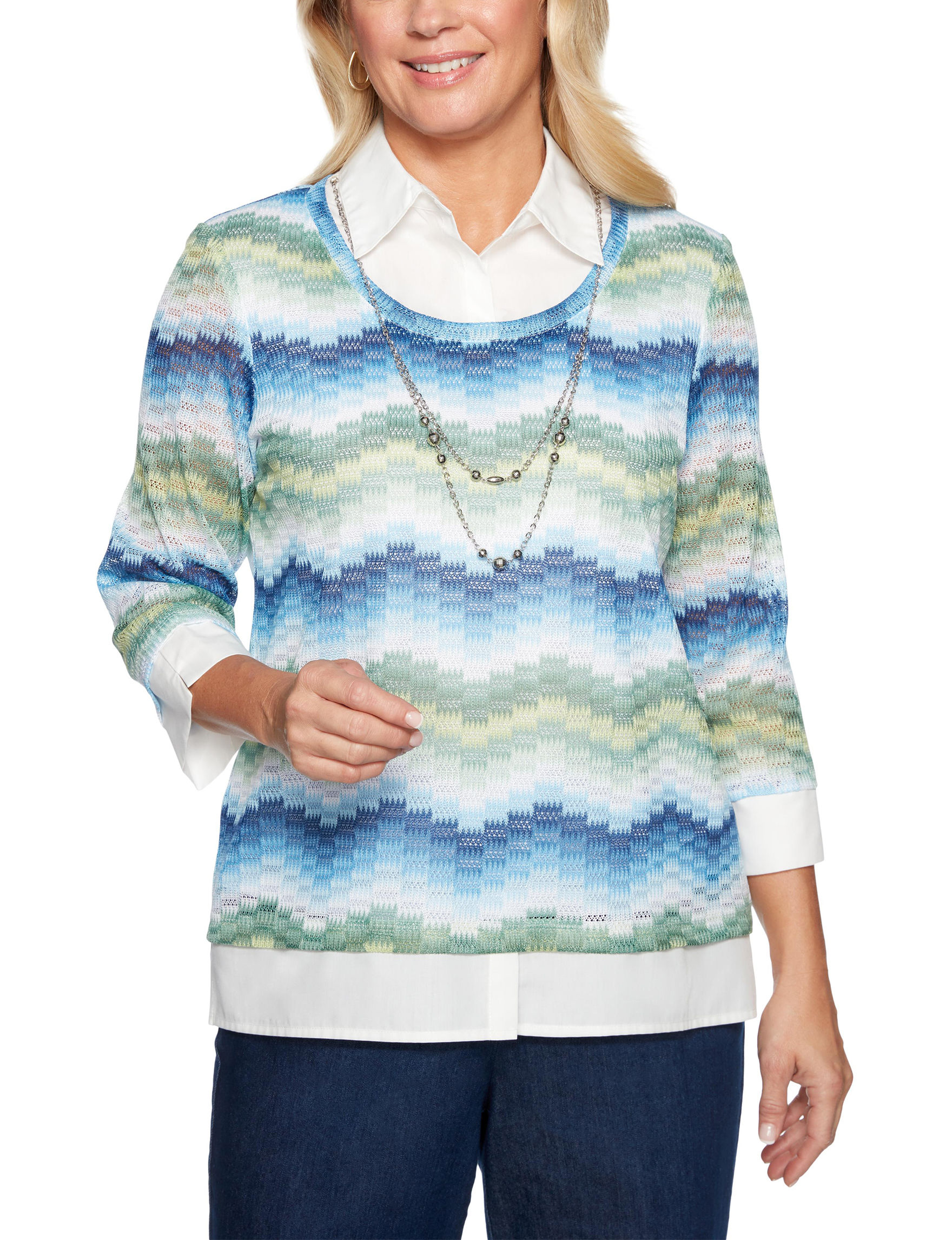 Alfred Dunner White Multi Pull-overs Shirts & Blouses