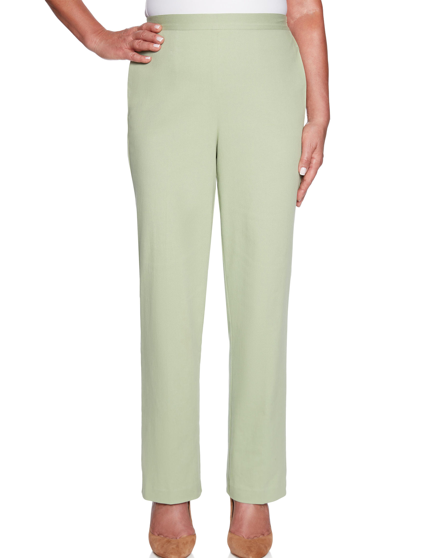 Alfred Dunner Green Capris & Crops Classic Modern Straight Stretch
